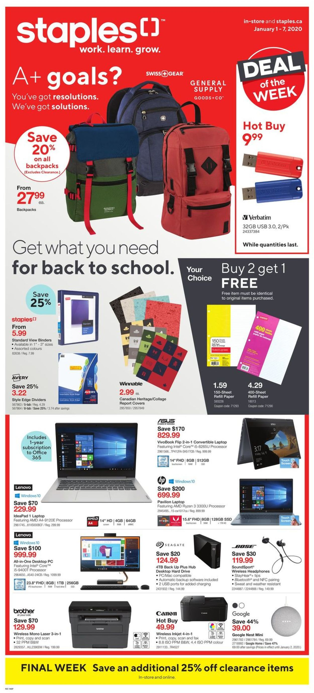 Staples Flyer - 01/01-01/07/2020