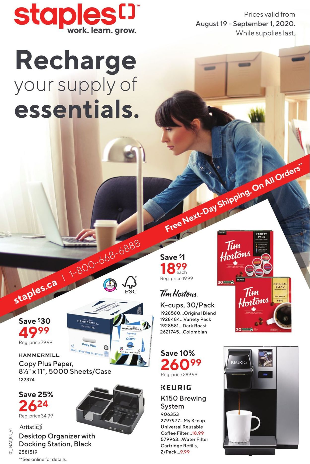 Staples Flyer - 08/19-09/01/2020