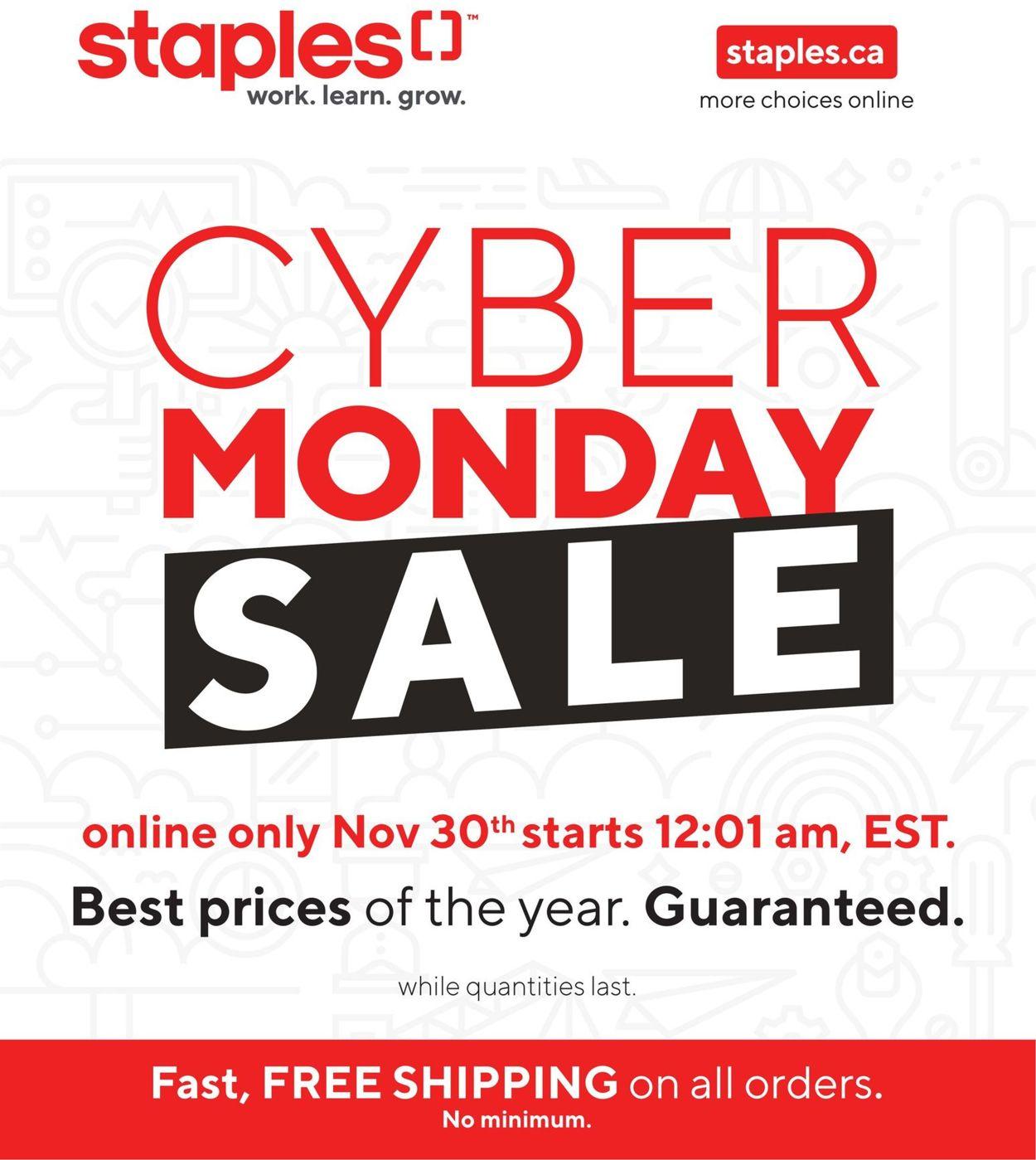 Staples - Cyber Monday 2020 Flyer - 11/30-11/30/2020