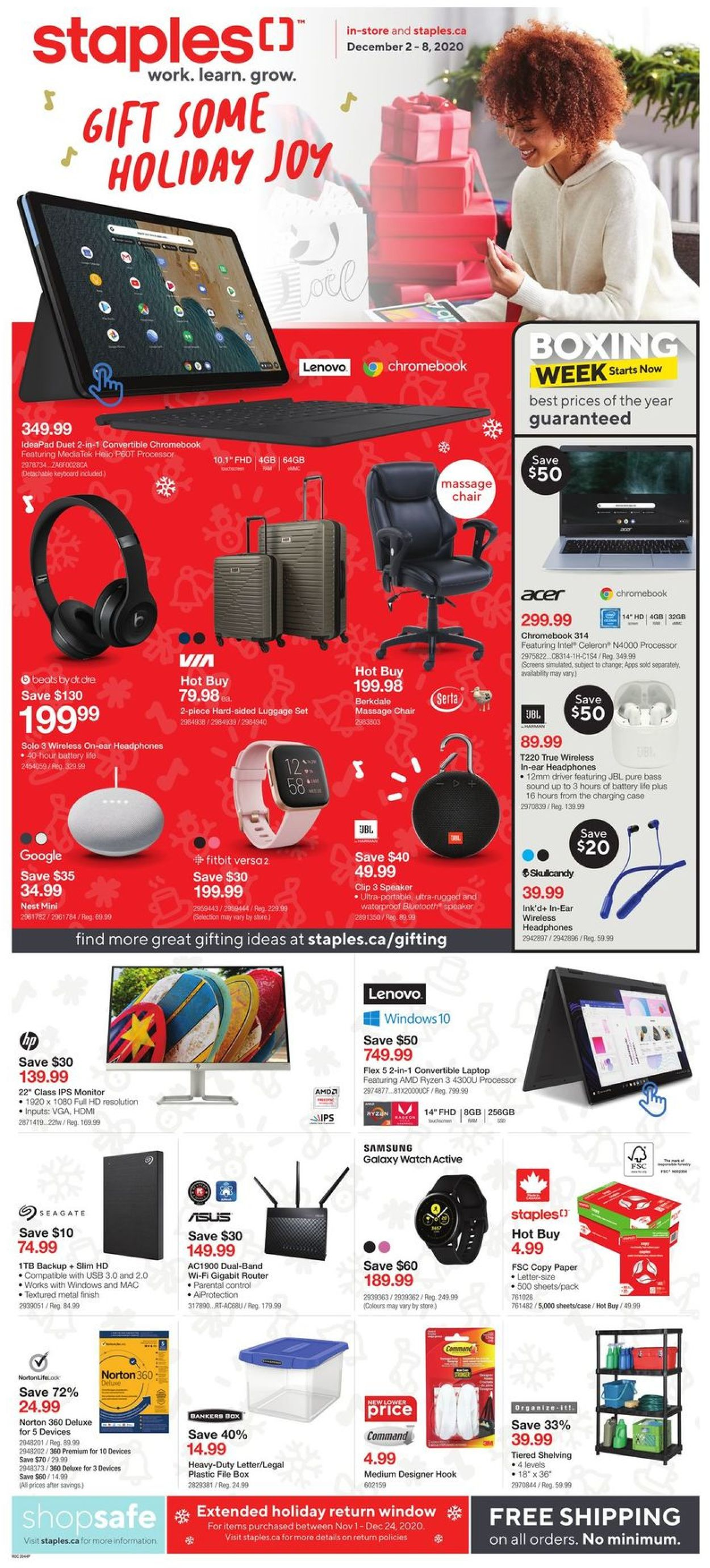 Staples - Holiday 2020 Flyer - 12/02-12/08/2020