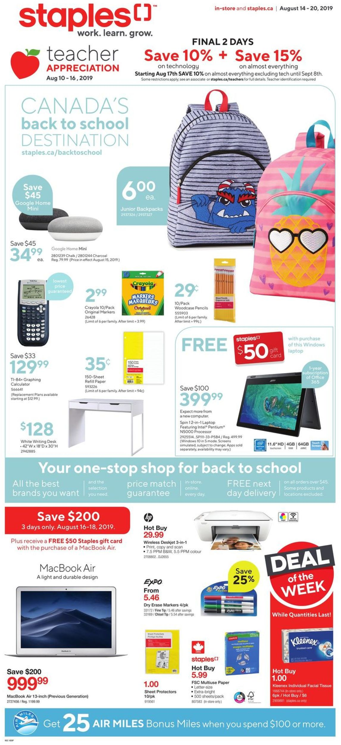 Staples Flyer - 08/14-08/20/2019