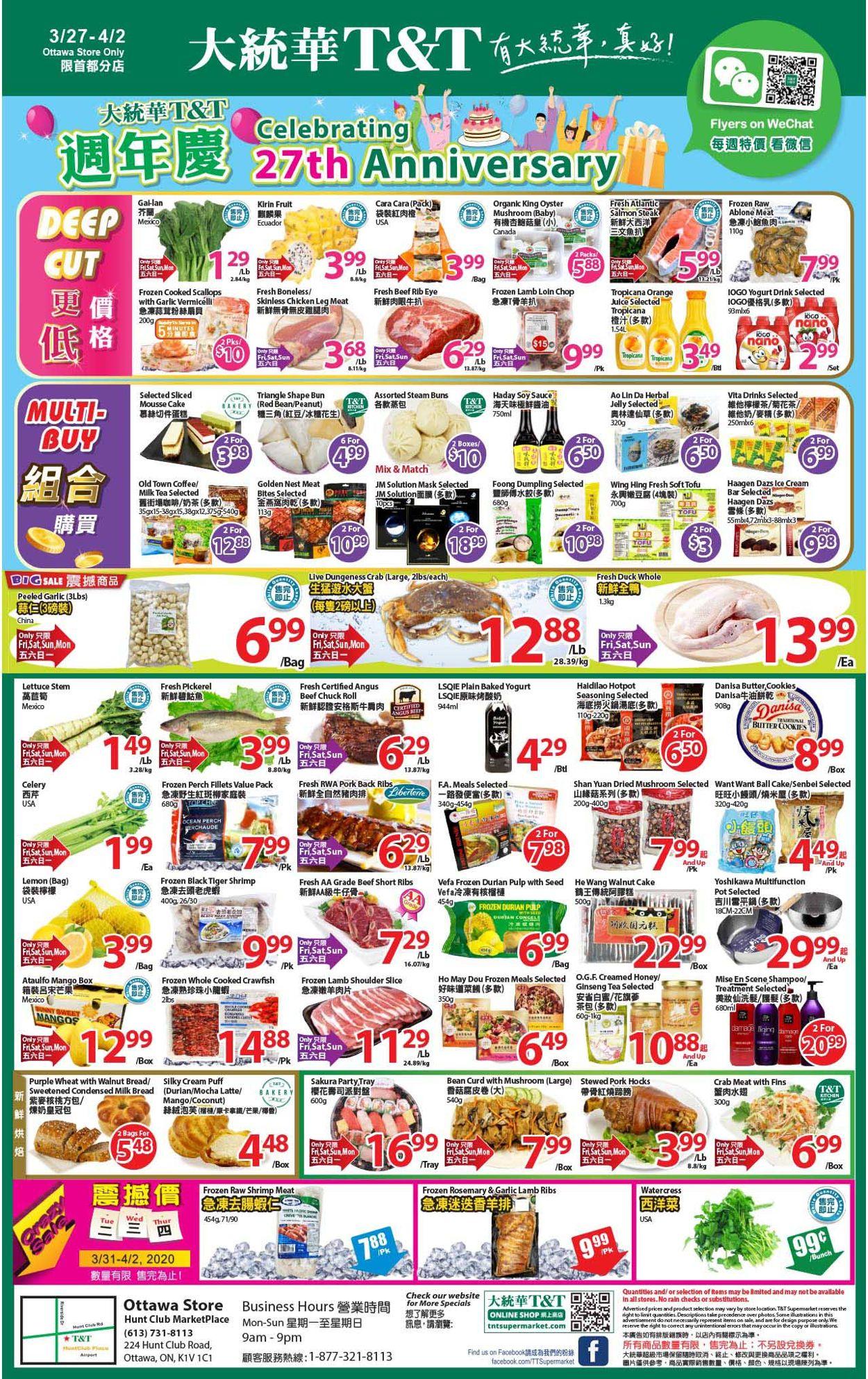 T&T Supermarket Flyer - 03/27-04/02/2020
