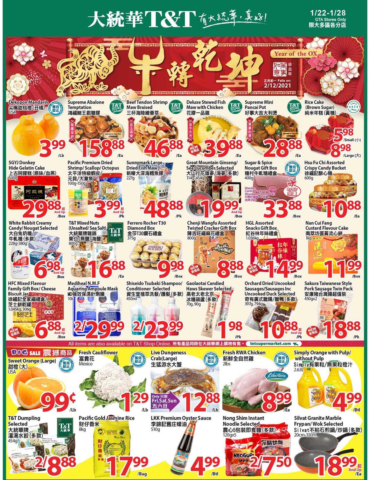 T&T Supermarket - Greater Toronto Area Flyer - 01/22-01/28/2021