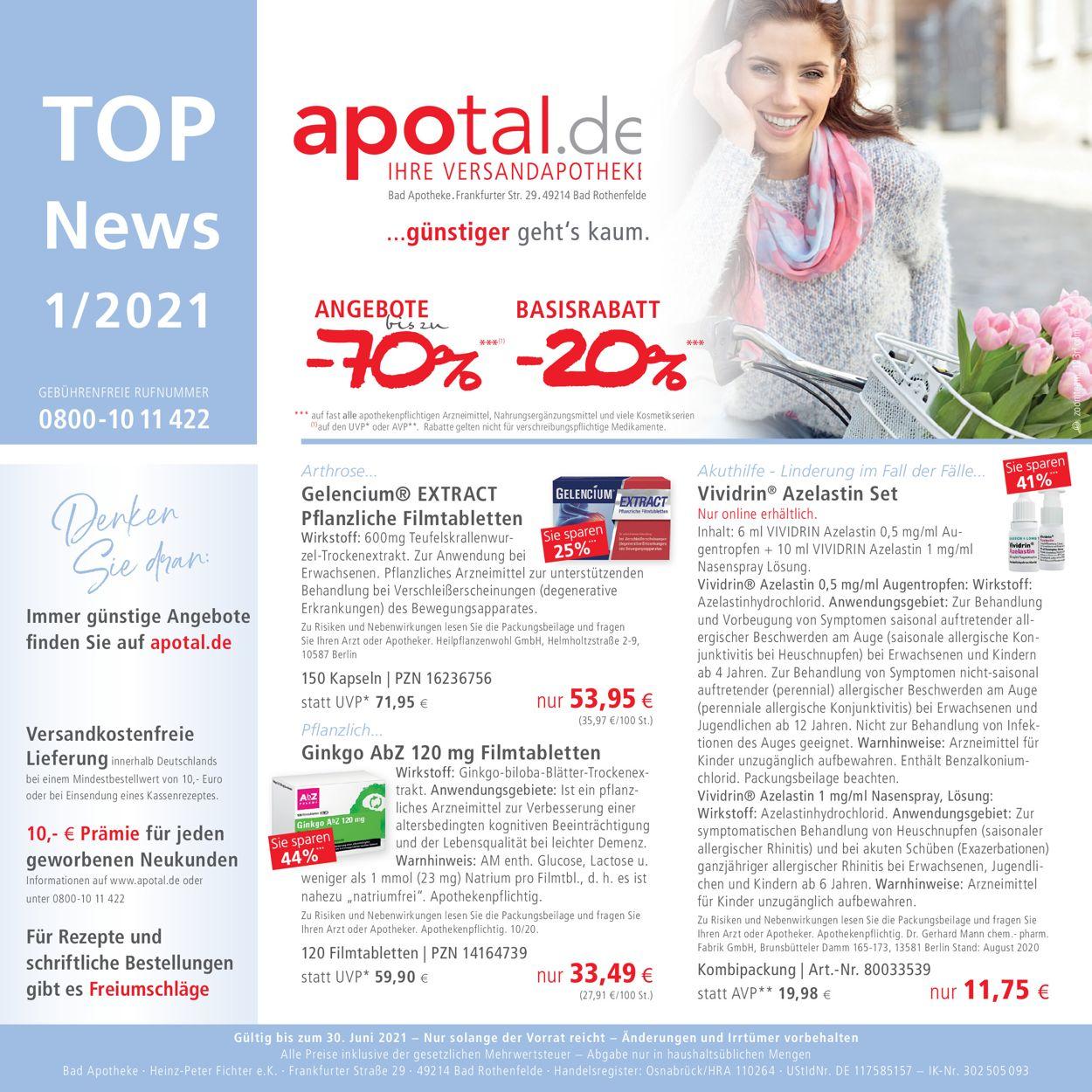 Apotal Prospekt - Aktuell vom 01.06-30.06.2021