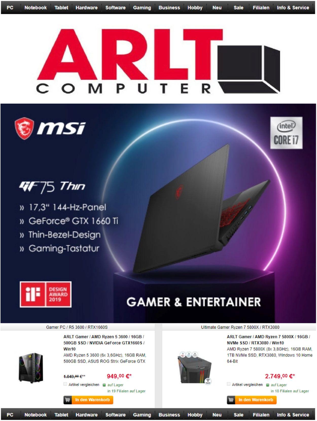 ARLT Computer Prospekt - Aktuell vom 10.03-30.03.2021