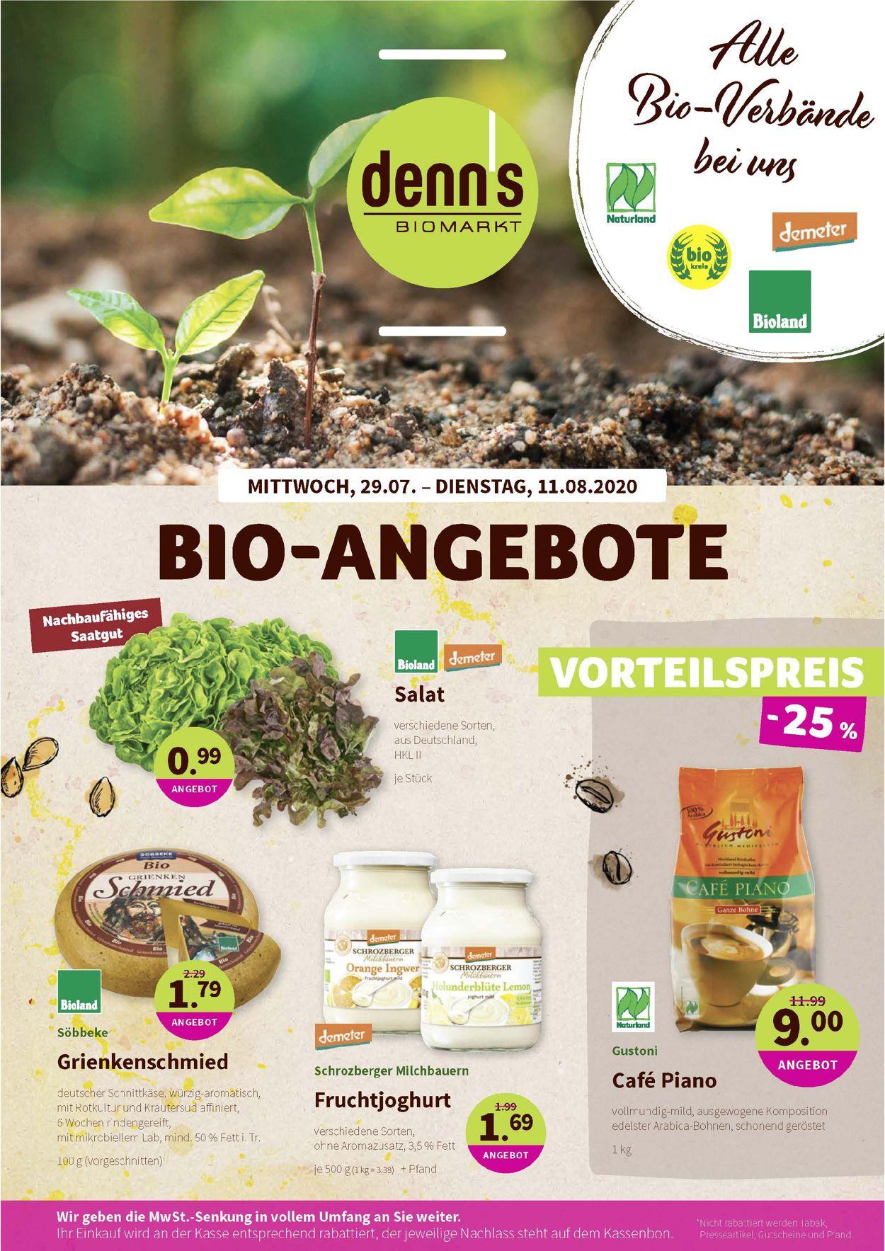 Denn's Biomarkt Prospekt - Aktuell vom 29.07-11.08.2020