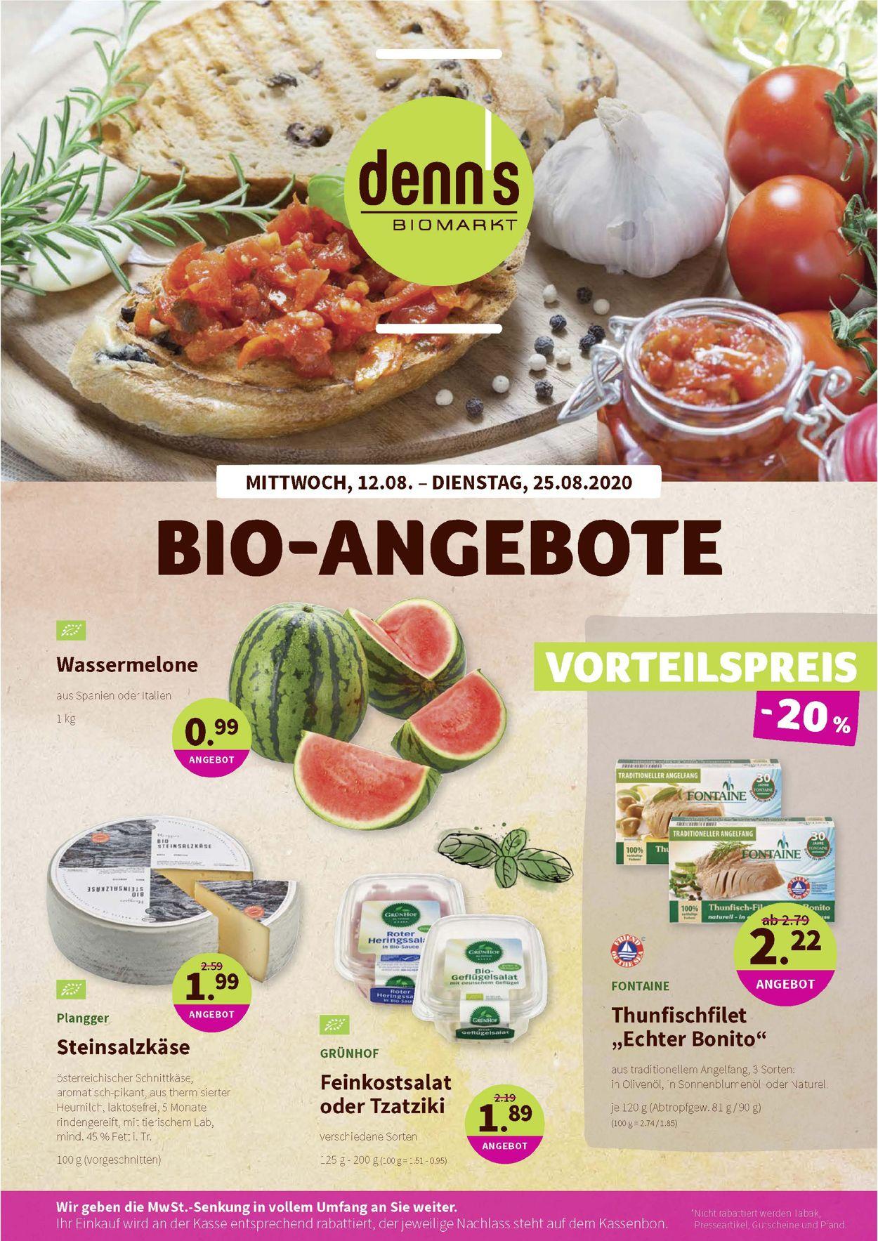 Denn's Biomarkt Prospekt - Aktuell vom 12.08-25.08.2020