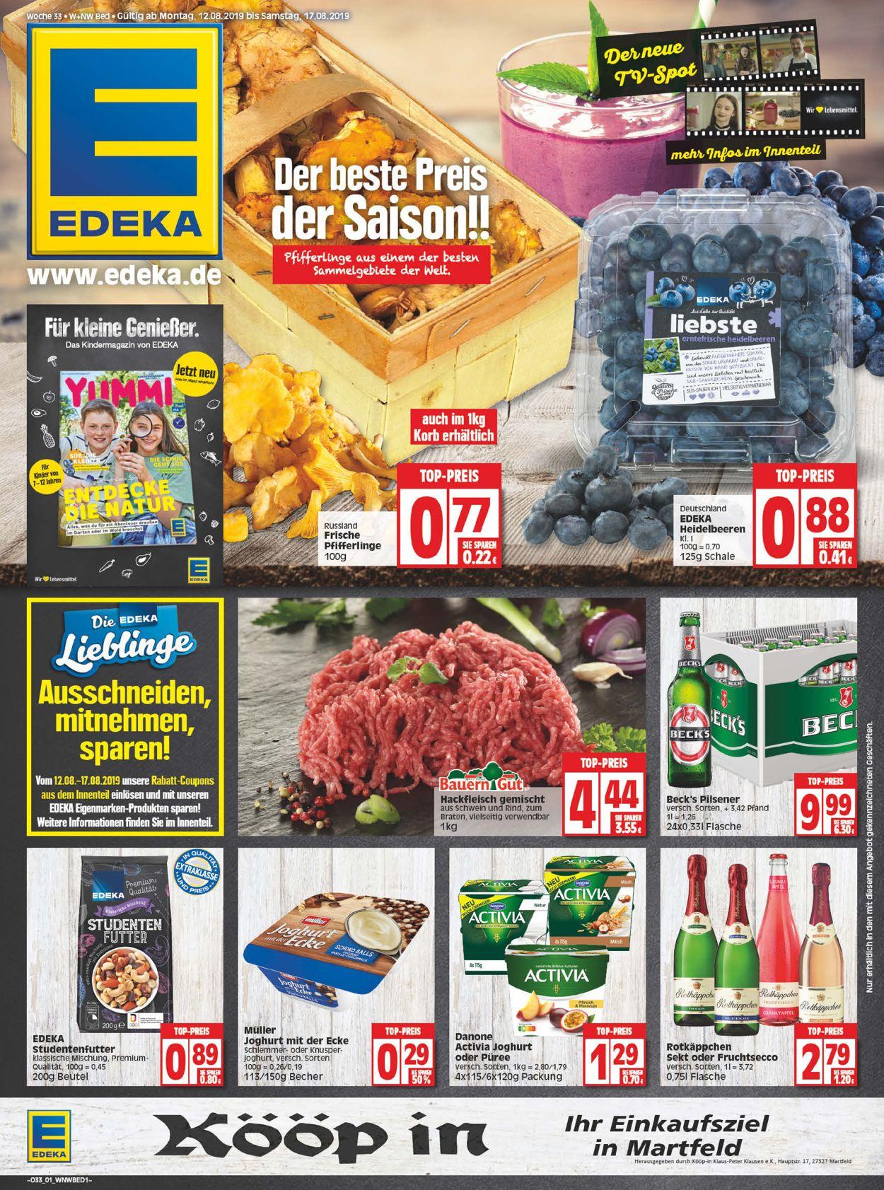 Edeka Prospekt - Aktuell vom 12.08-17.08.2019