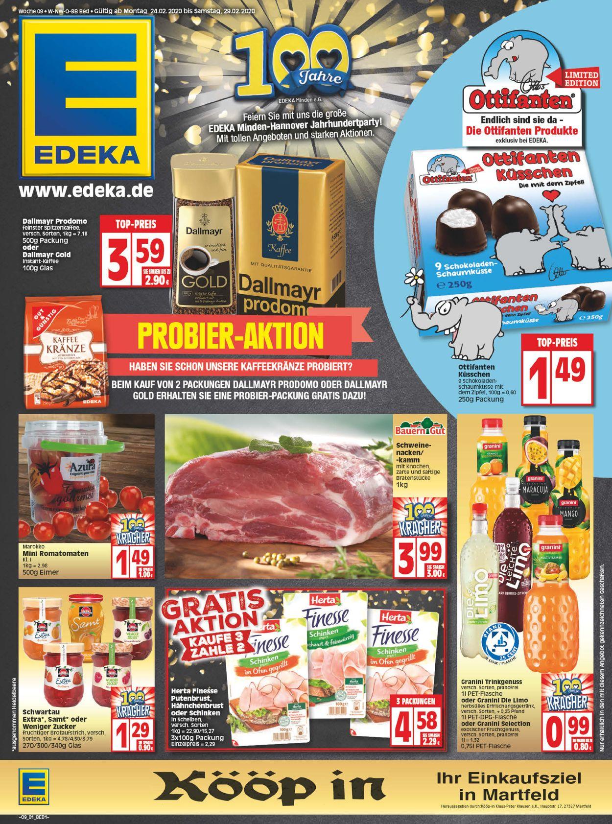 Edeka Prospekt - Aktuell vom 24.02-29.02.2020