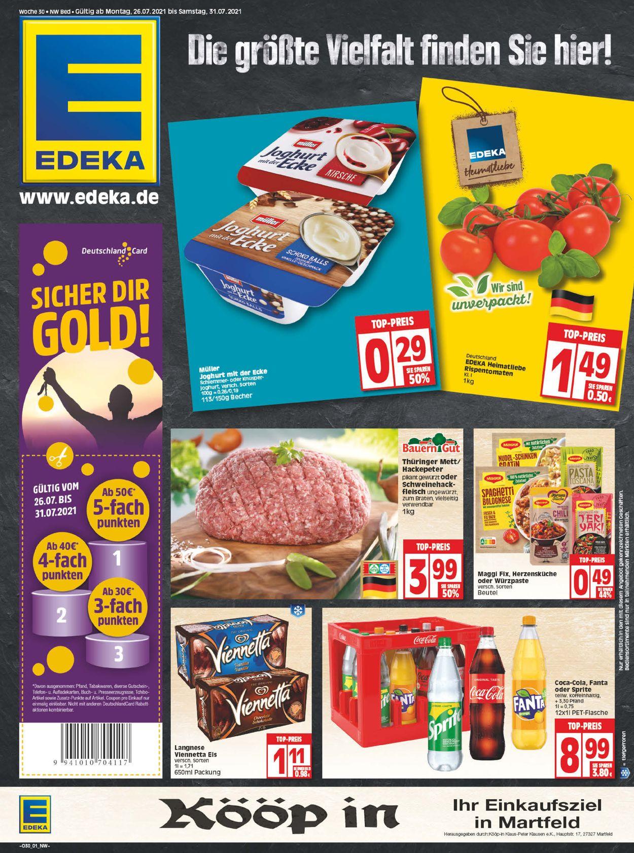 Edeka Prospekt - Aktuell vom 26.07-31.07.2021