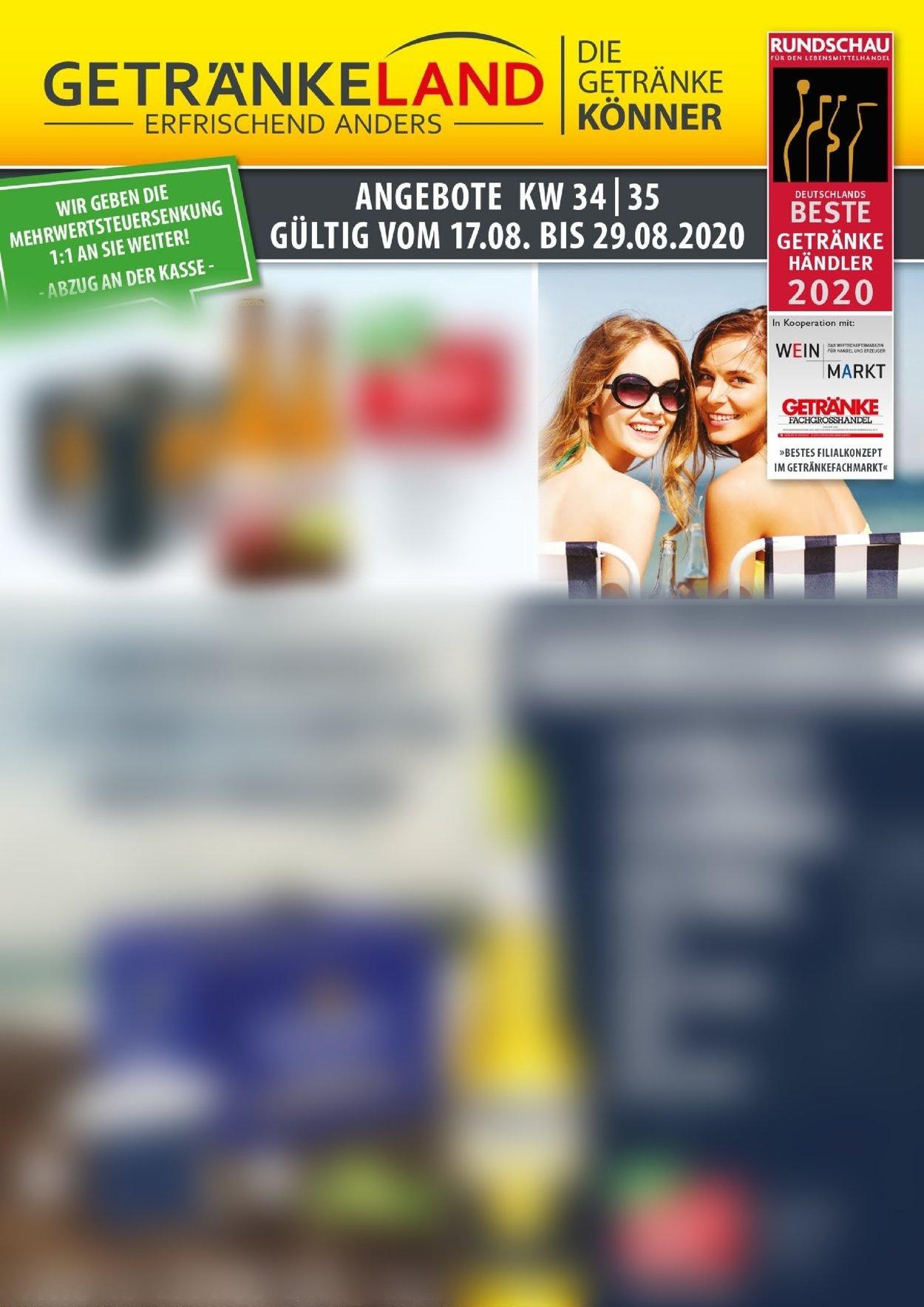 Getränkeland Prospekt - Aktuell vom 17.08-29.08.2020