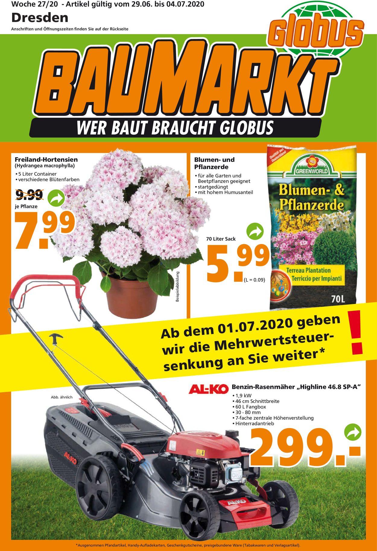 Globus Baumarkt Prospekt - Aktuell vom 29.06-04.07.2020