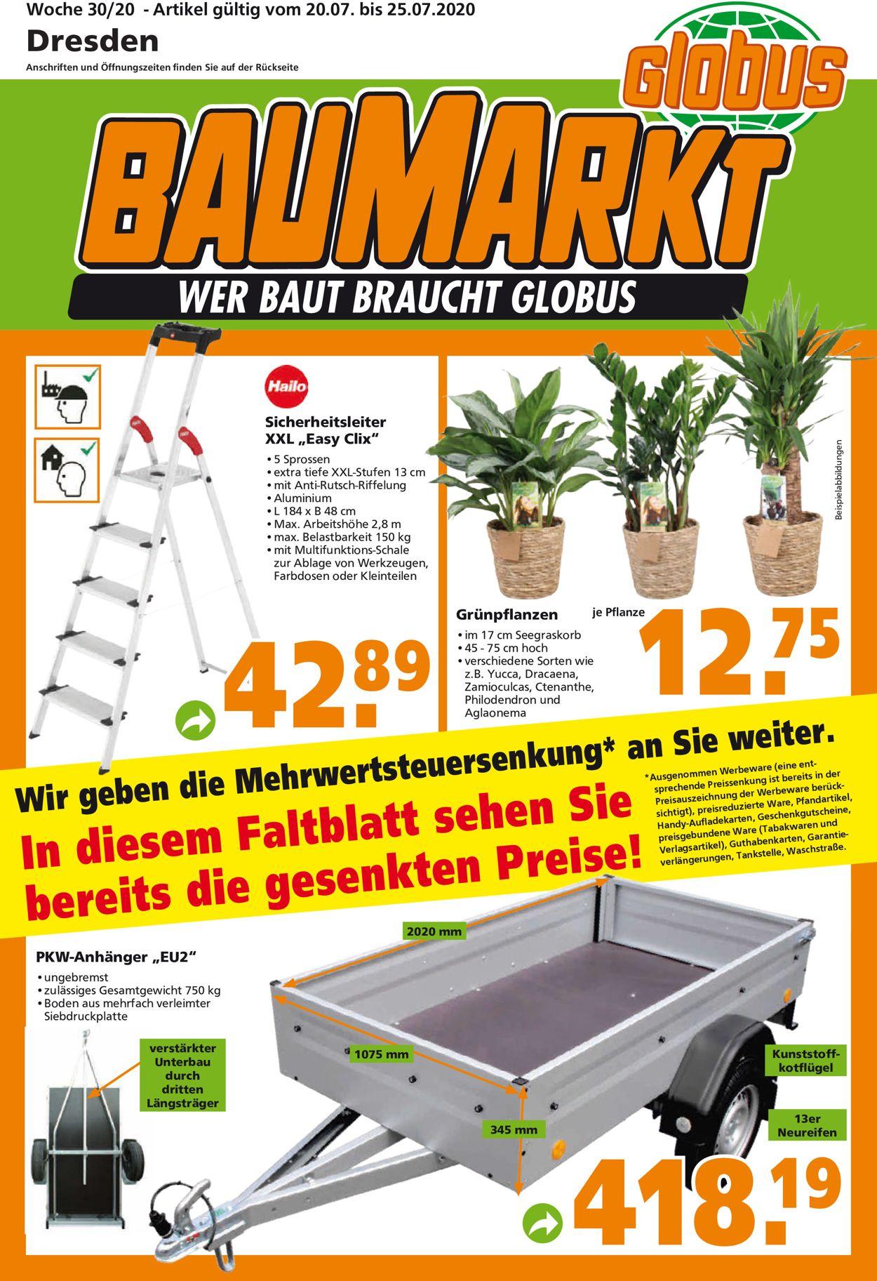 Globus Baumarkt Prospekt - Aktuell vom 20.07-25.07.2020