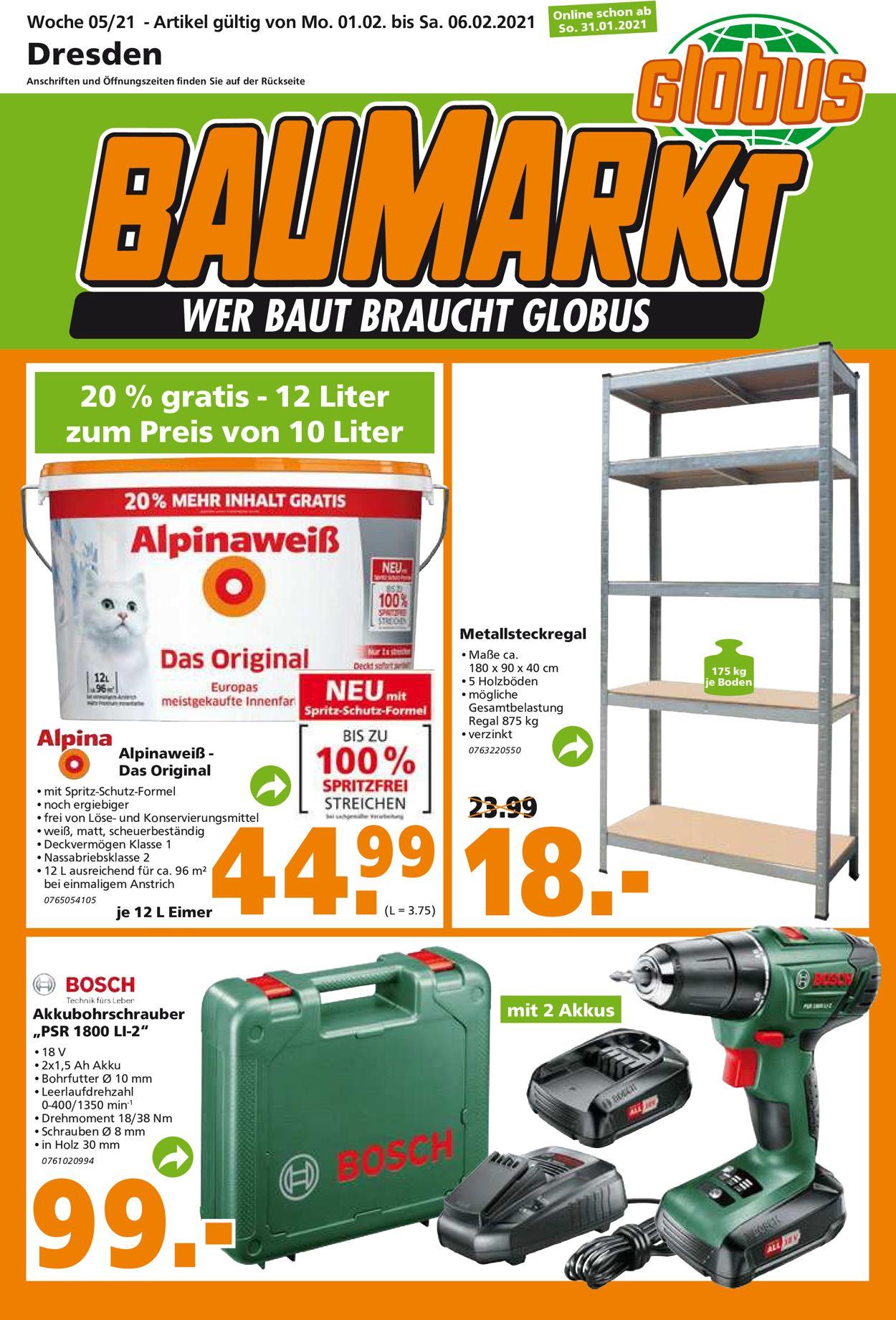 Globus Baumarkt Prospekt - Aktuell vom 01.02-06.02.2021