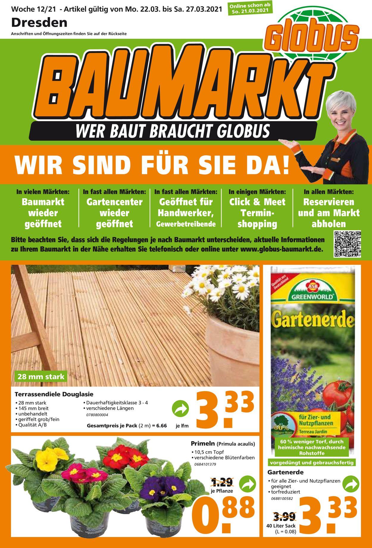 Globus Baumarkt Prospekt - Aktuell vom 22.03-27.03.2021