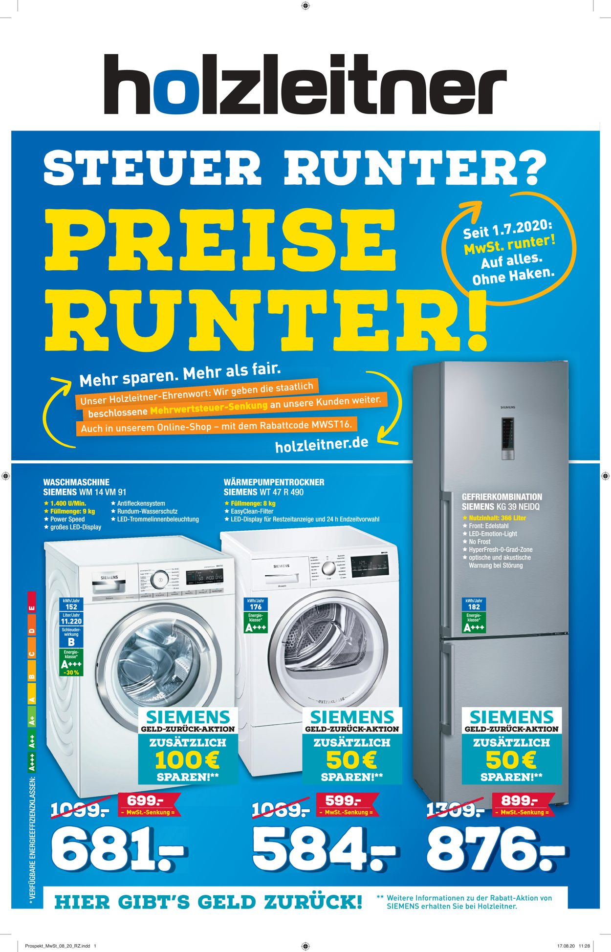 Holzleitner Elektrogeräte Prospekt - Aktuell vom 29.08-20.09.2020