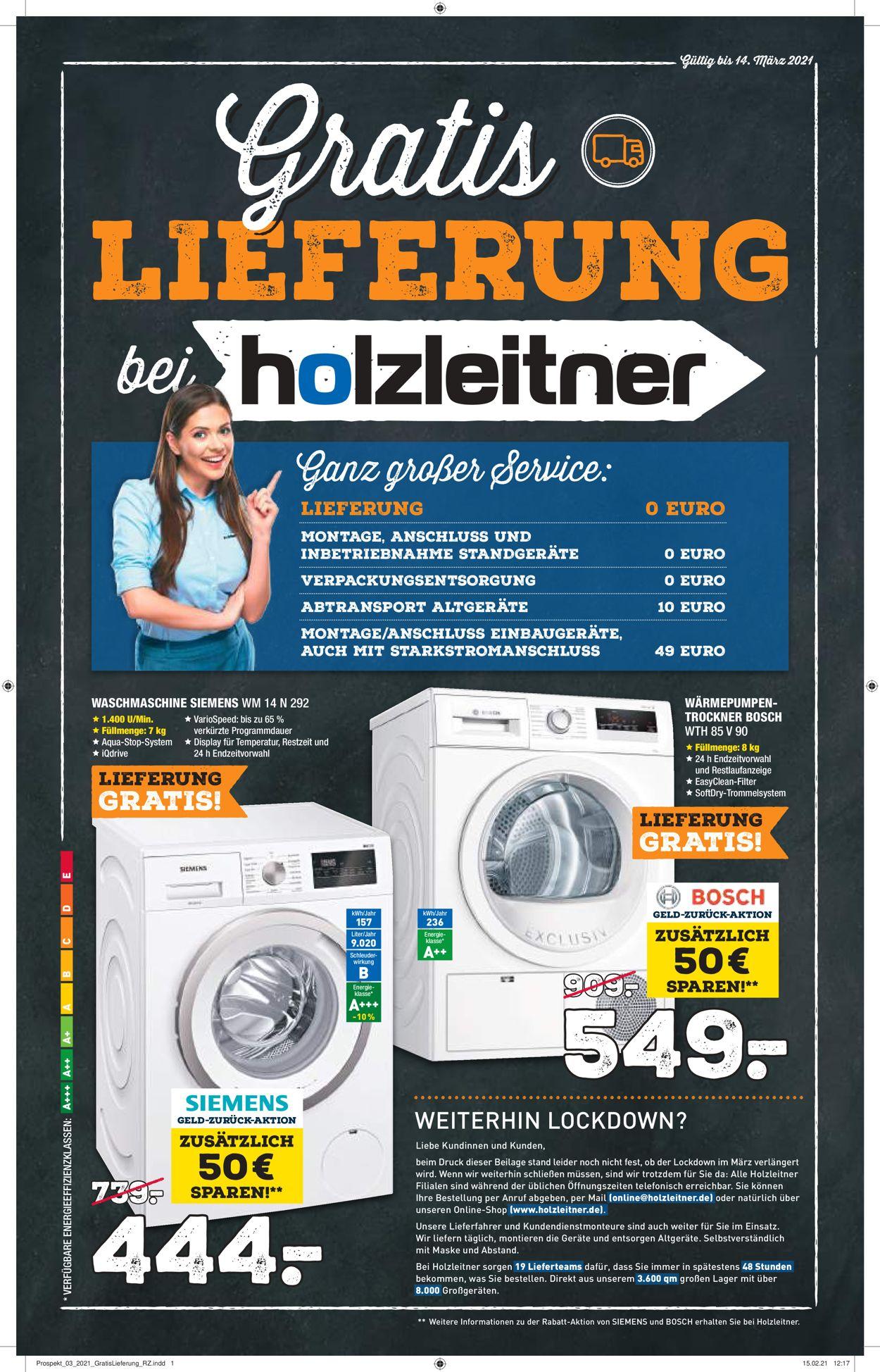 Holzleitner Elektrogeräte Prospekt - Aktuell vom 01.03-14.03.2021