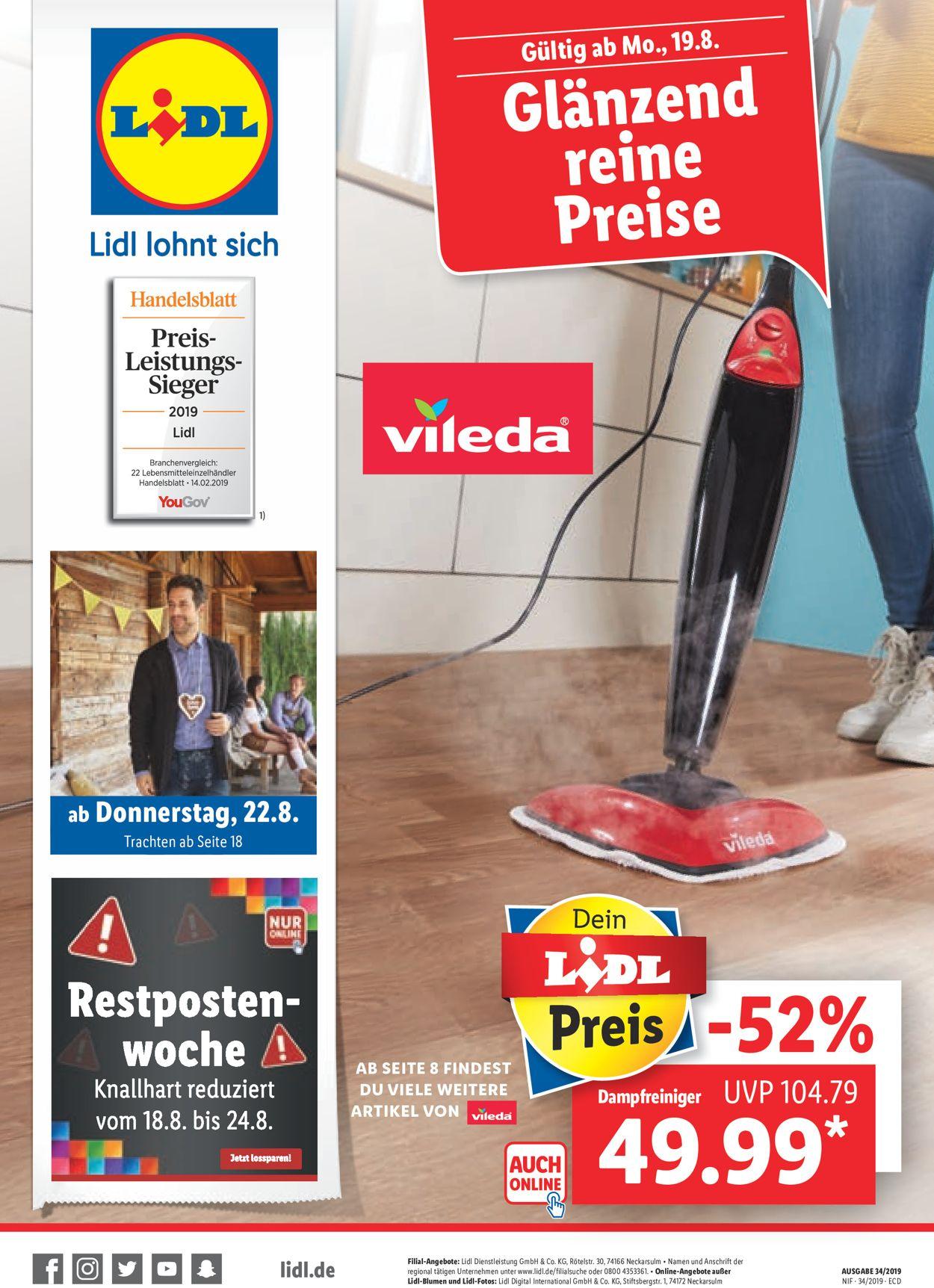 Lidl Prospekt - Aktuell vom 19.08-22.08.2019