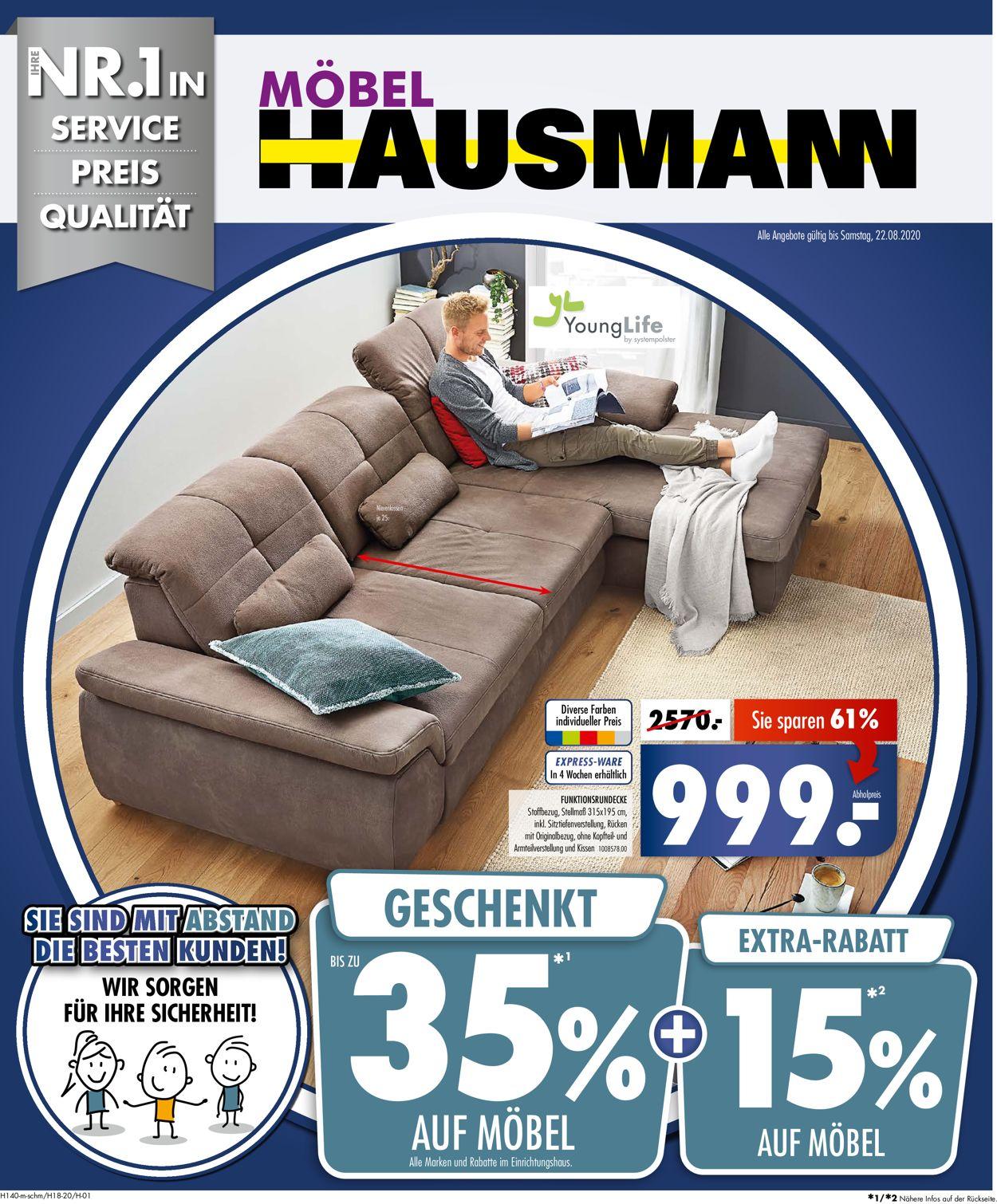 Möbel Hausmann Prospekt - Aktuell vom 03.08-22.08.2020