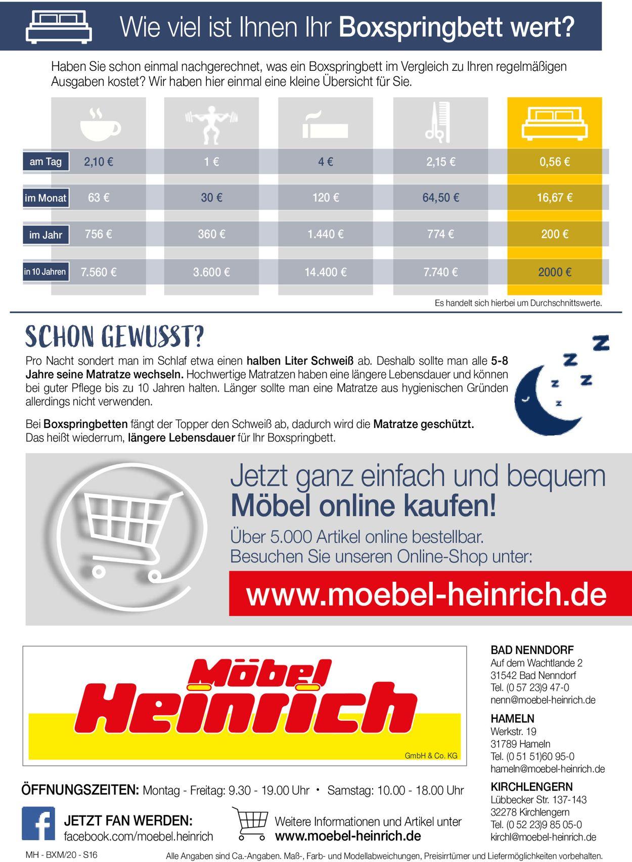 Möbel Heinrich Prospekt - Aktuell vom 21.07-04.08.2020 (Seite 16)