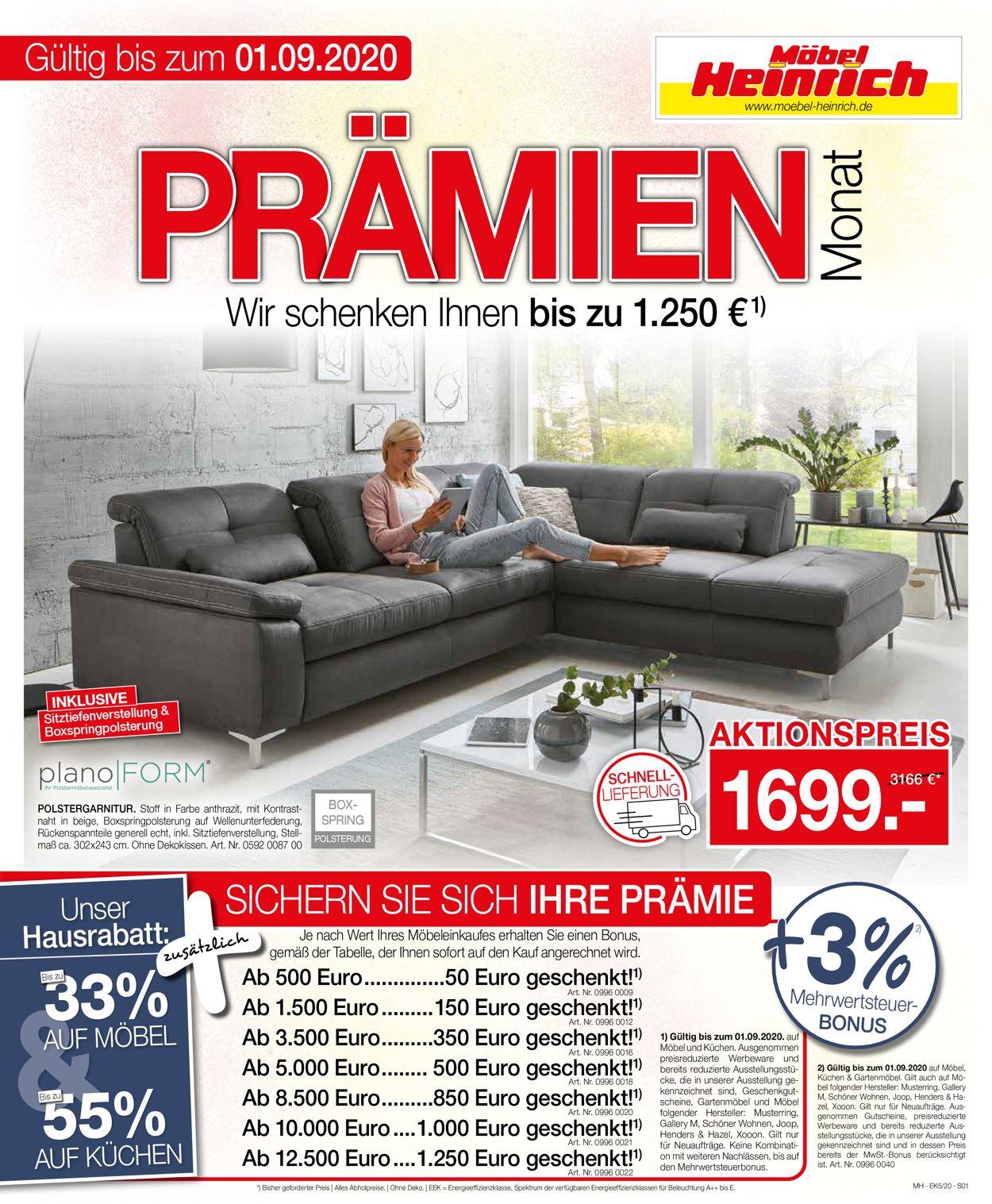 Möbel Heinrich Prospekt - Aktuell vom 05.08-01.09.2020