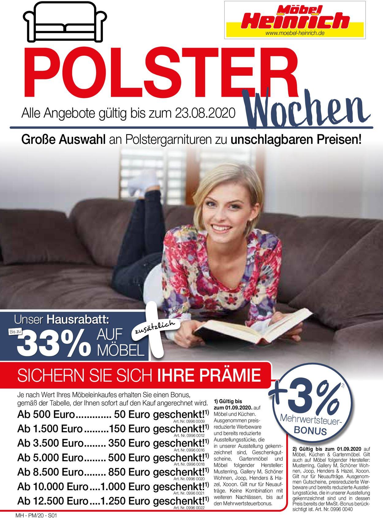Möbel Heinrich Prospekt - Aktuell vom 10.08-23.08.2020