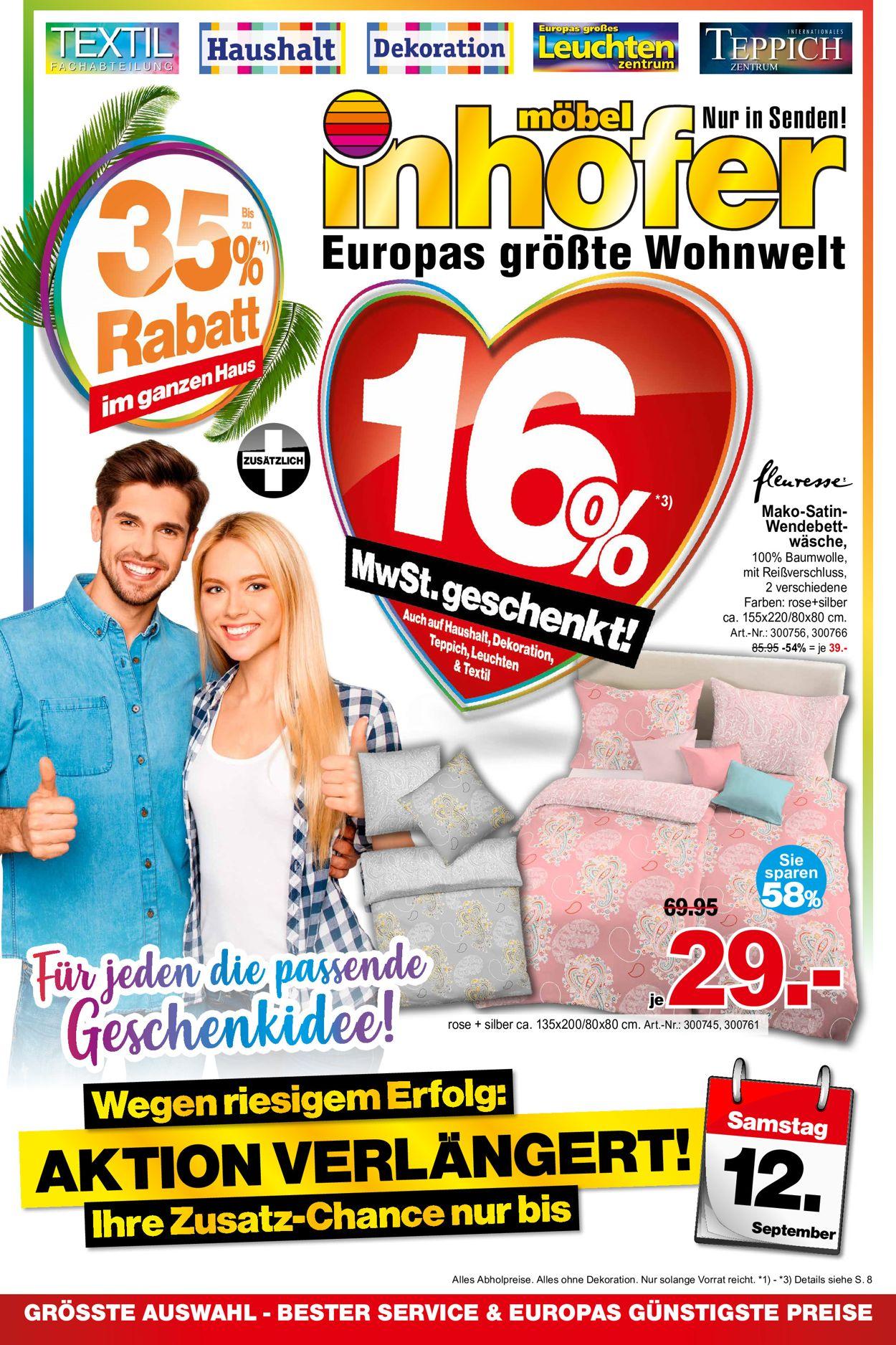 Möbel Inhofer Prospekt - Aktuell vom 01.09-12.09.2020