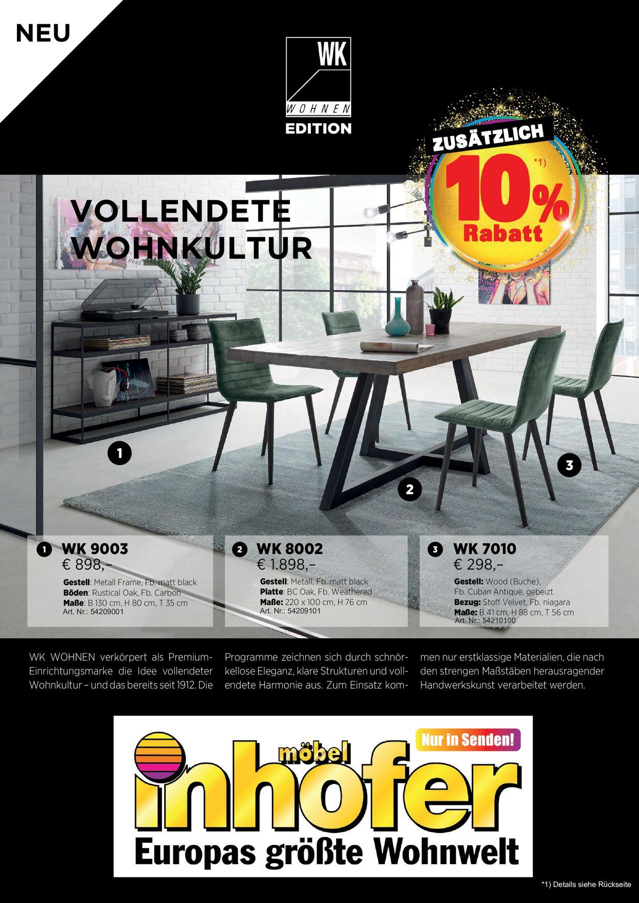Möbel Inhofer Prospekt - Aktuell vom 30.12-31.01.2021