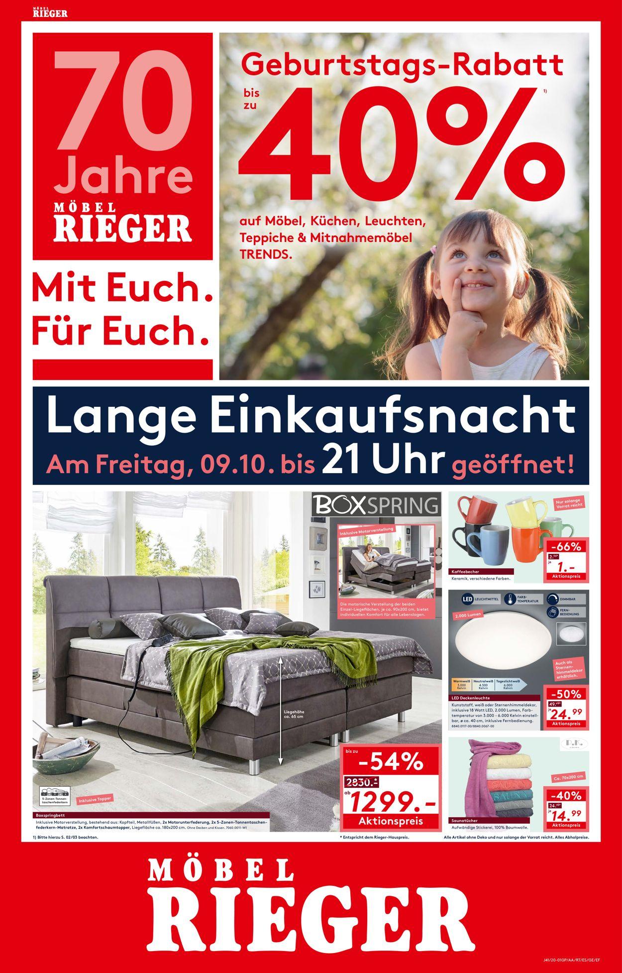 Möbel Rieger Prospekt - Aktuell vom 09.10-09.10.2020