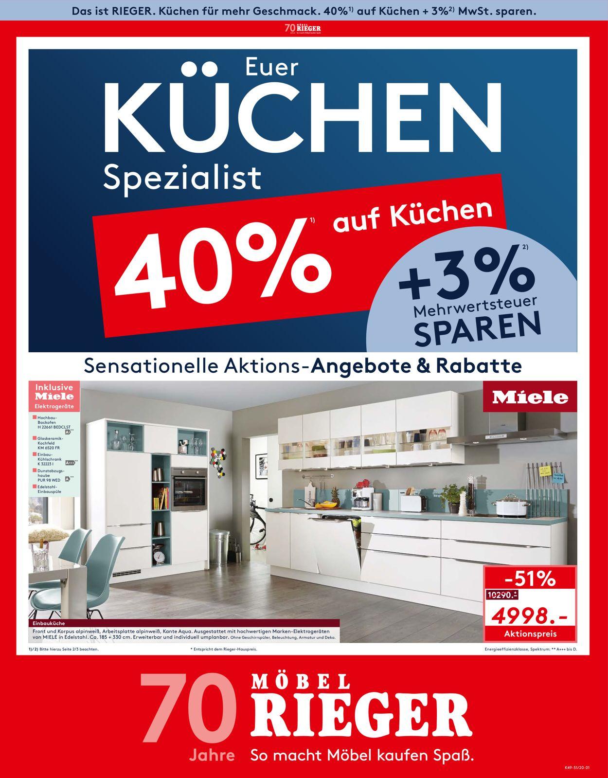 Möbel Rieger Prospekt - Aktuell vom 15.12-21.12.2020
