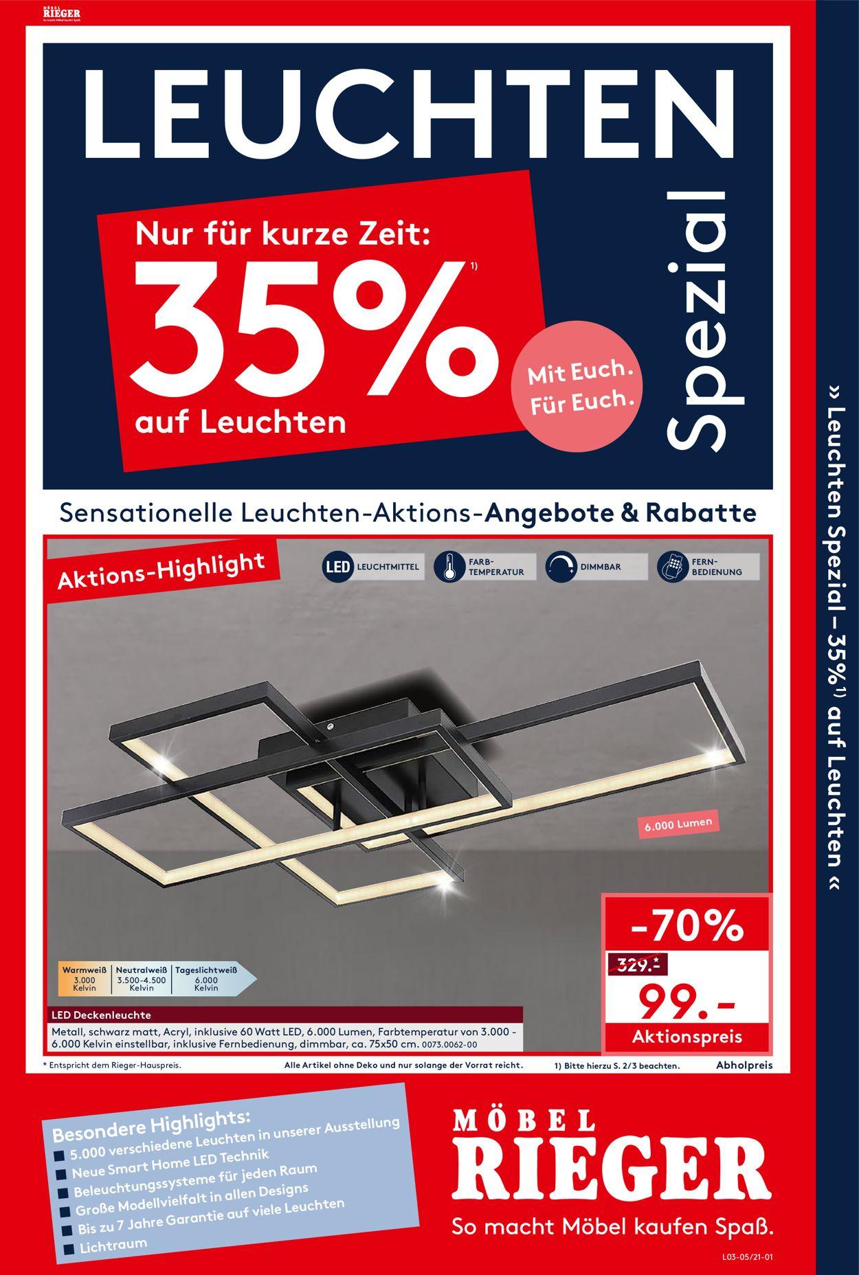 Möbel Rieger Prospekt - Aktuell vom 29.03-04.04.2021