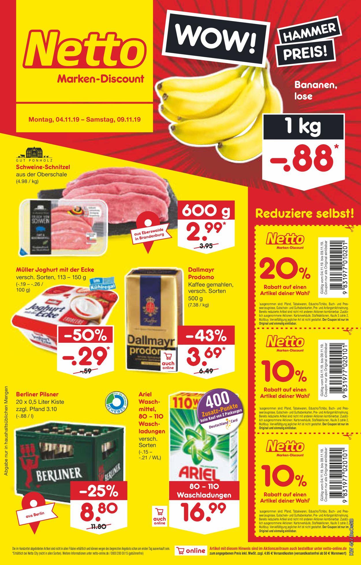 Netto Marken-Discount Prospekt - Aktuell vom 04.11-09.11.2019