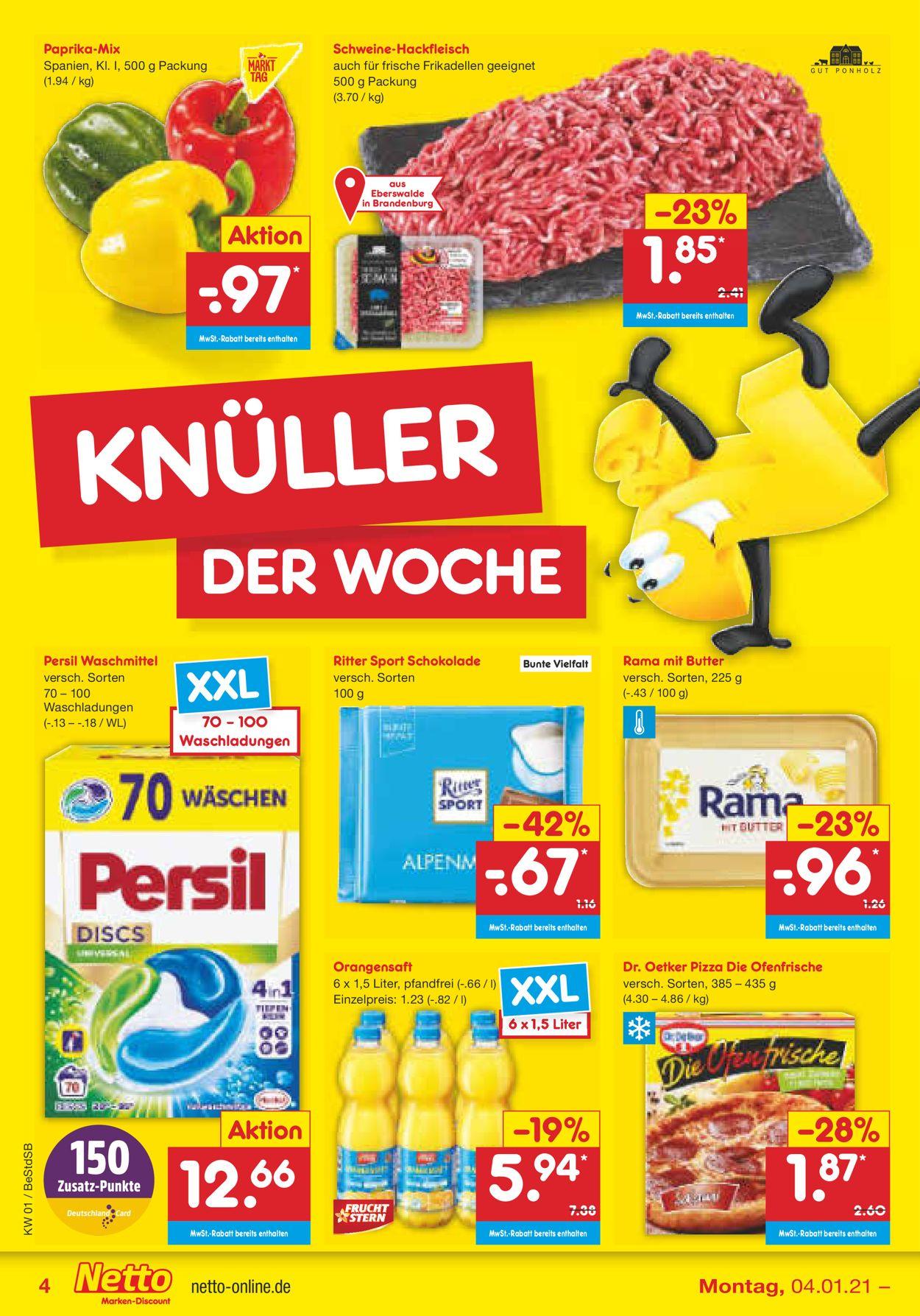 Netto Marken-Discount Prospekt - Aktuell vom 04.01-09.01.2021 (Seite 4)