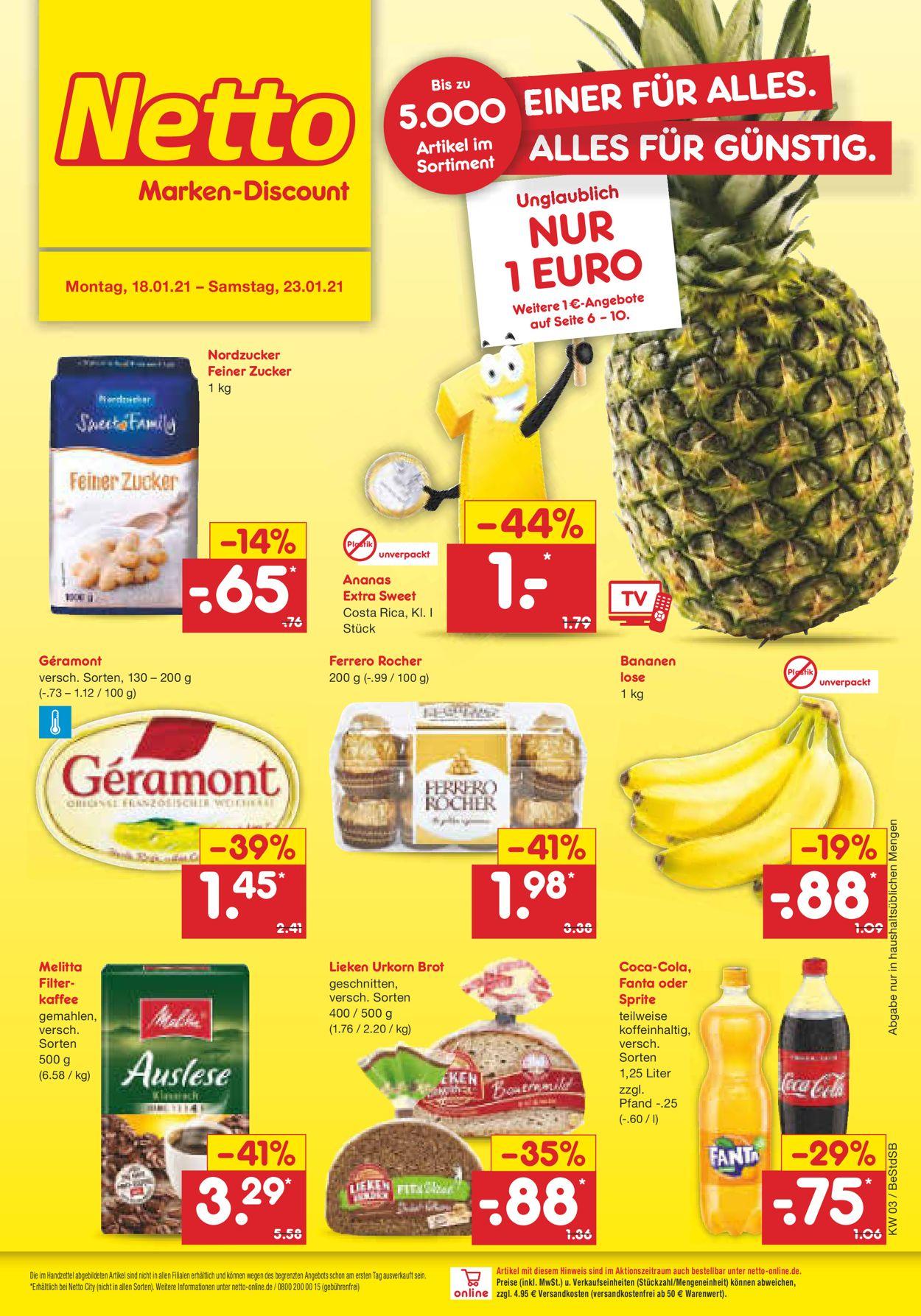 Netto Marken-Discount Prospekt - Aktuell vom 18.01-23.01.2021