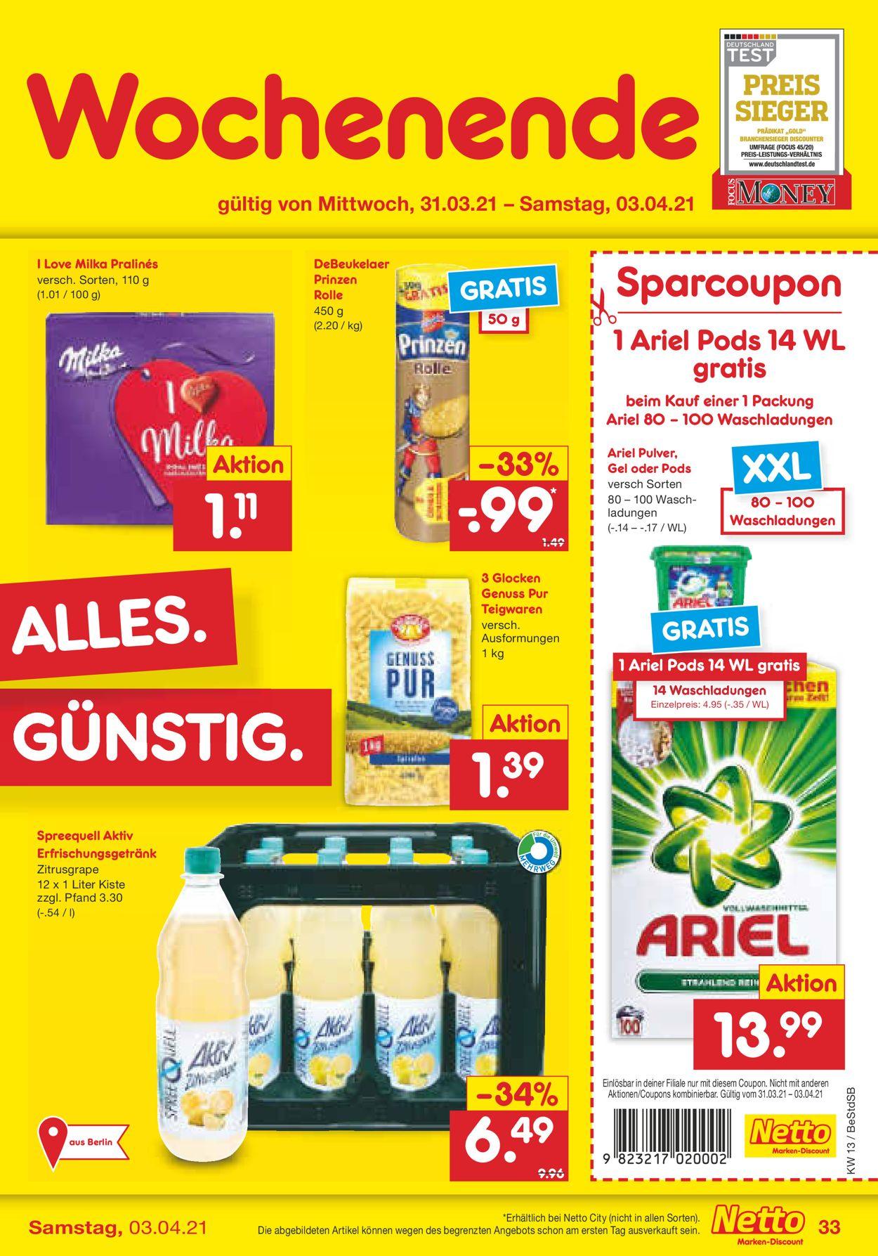 Netto Marken-Discount Ostern 2021 Prospekt - Aktuell vom 29.03-03.04.2021 (Seite 33)
