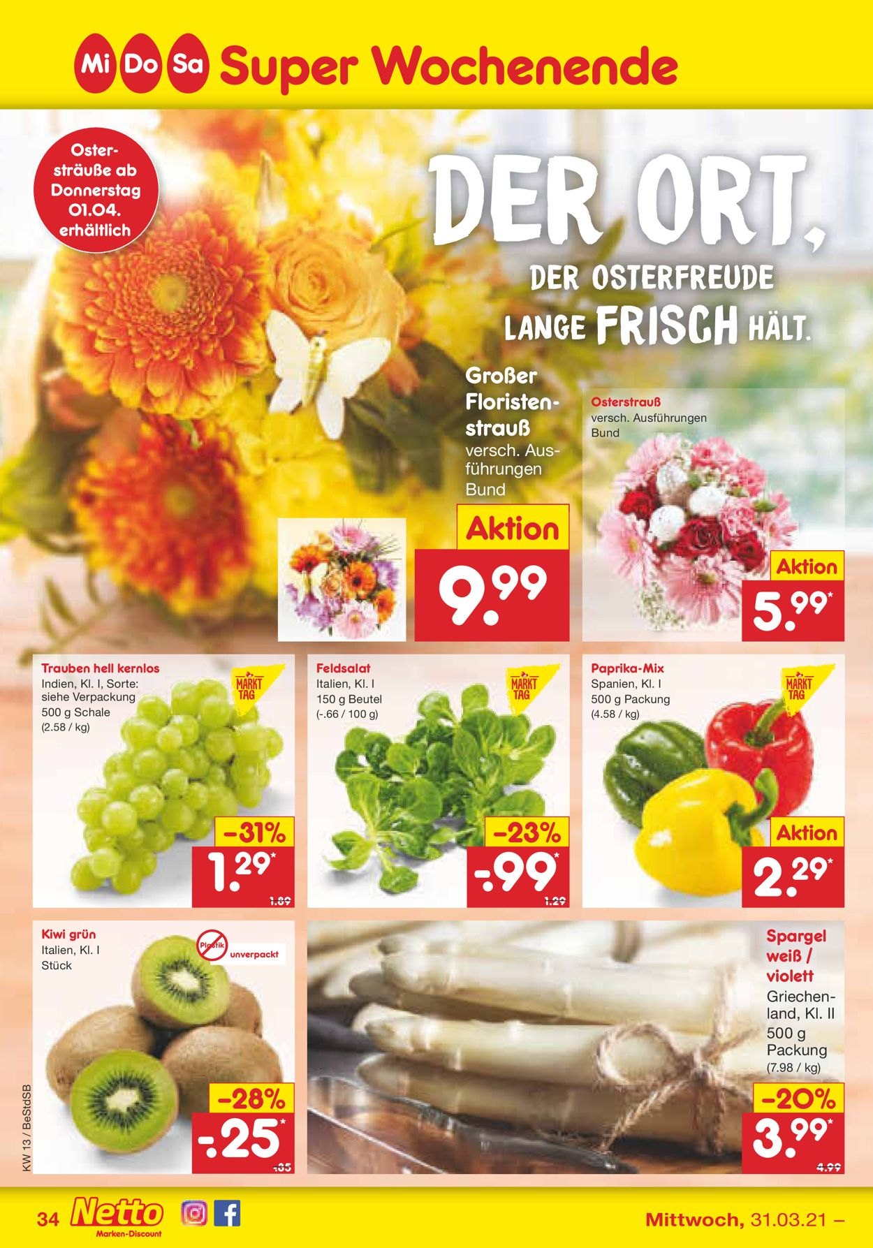 Netto Marken-Discount Ostern 2021 Prospekt - Aktuell vom 29.03-03.04.2021 (Seite 34)