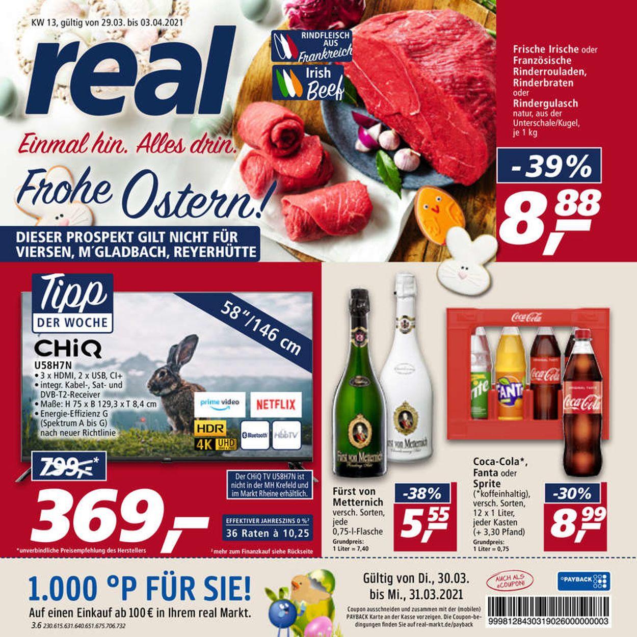 Real Ostern 2021 Prospekt - Aktuell vom 29.03-03.04.2021