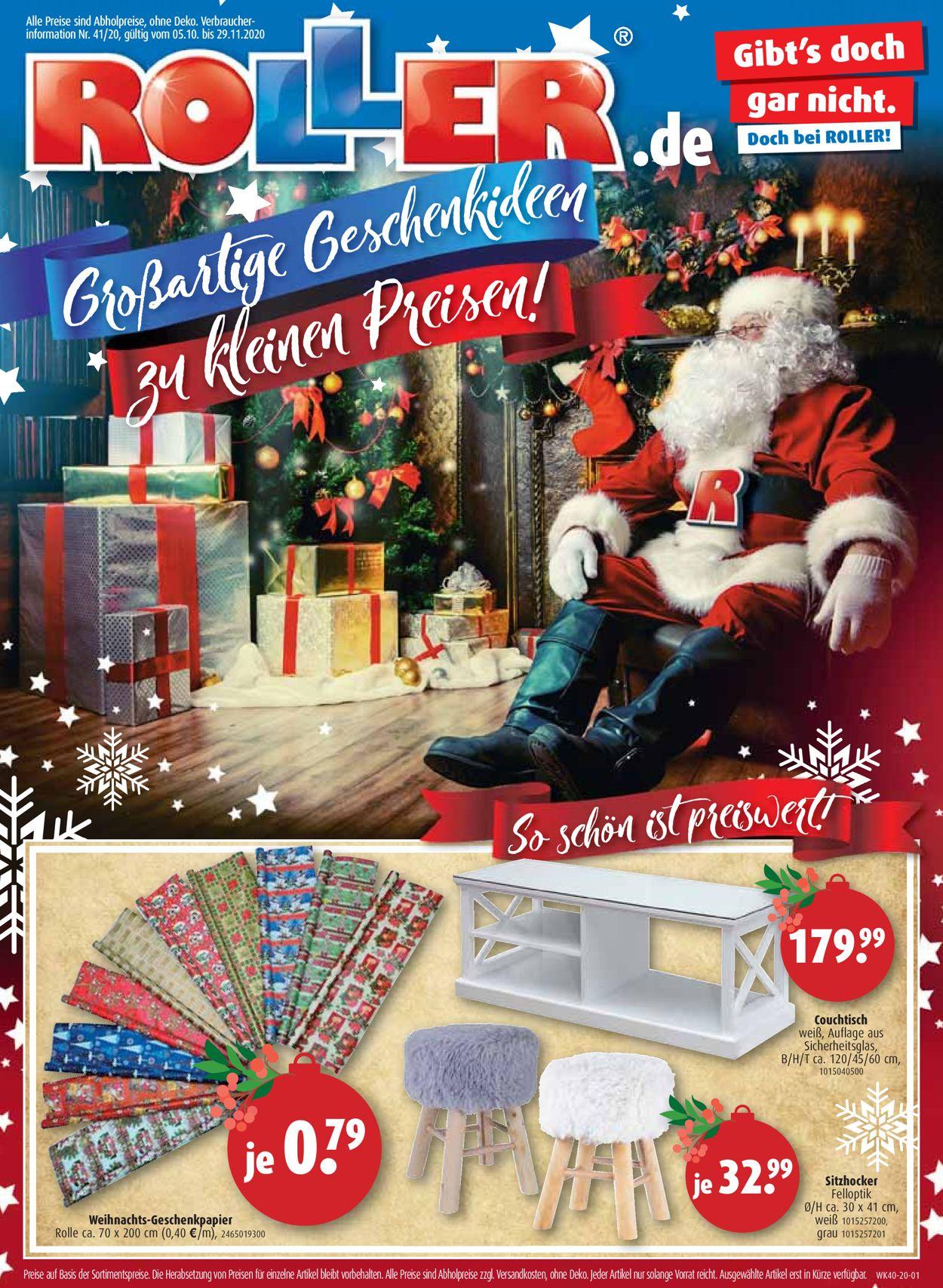 Roller Weihnachtsprospekt 2020 Prospekt - Aktuell vom 05.10-29.11.2020