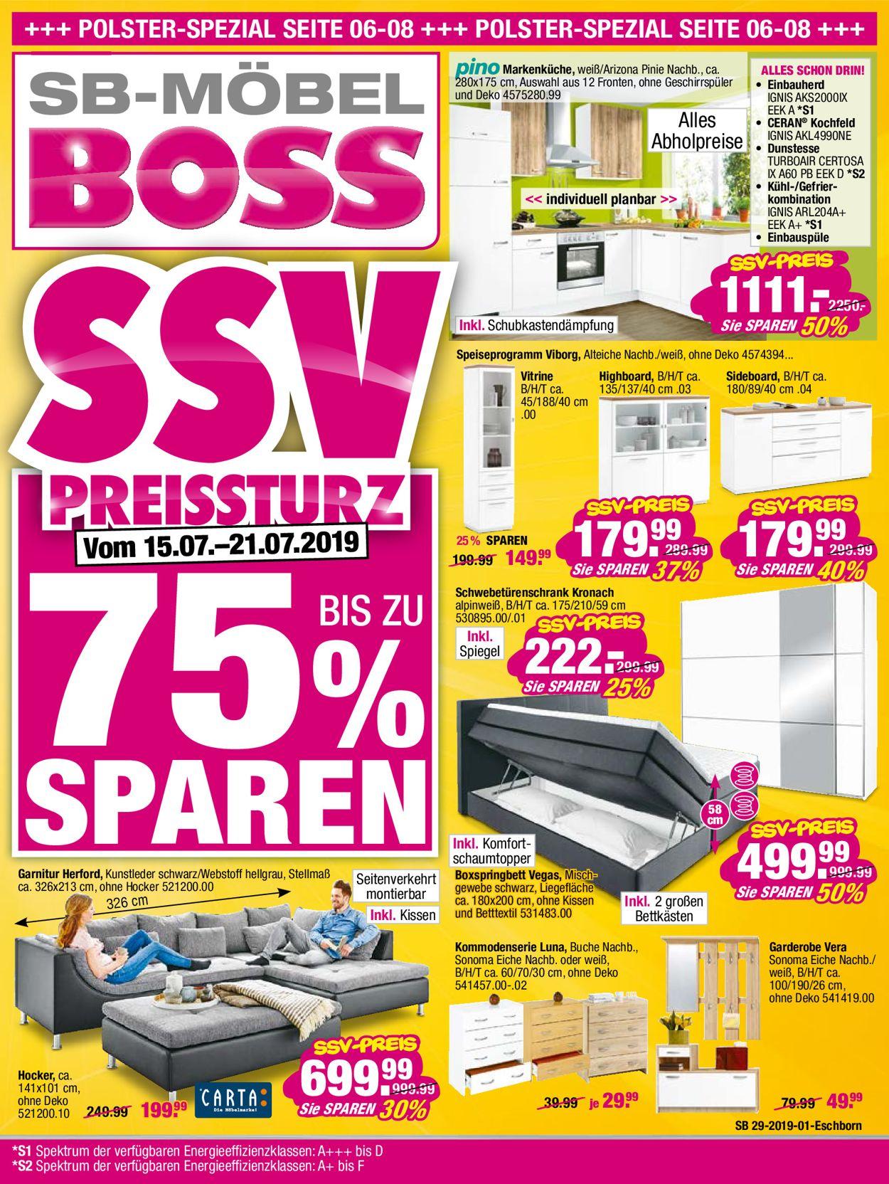 SB Möbel Boss Prospekt - Aktuell vom 15.07-21.07.2019