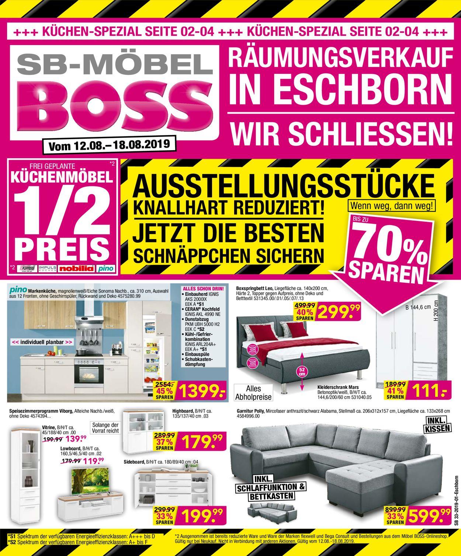 SB Möbel Boss Prospekt - Aktuell vom 12.08-18.08.2019