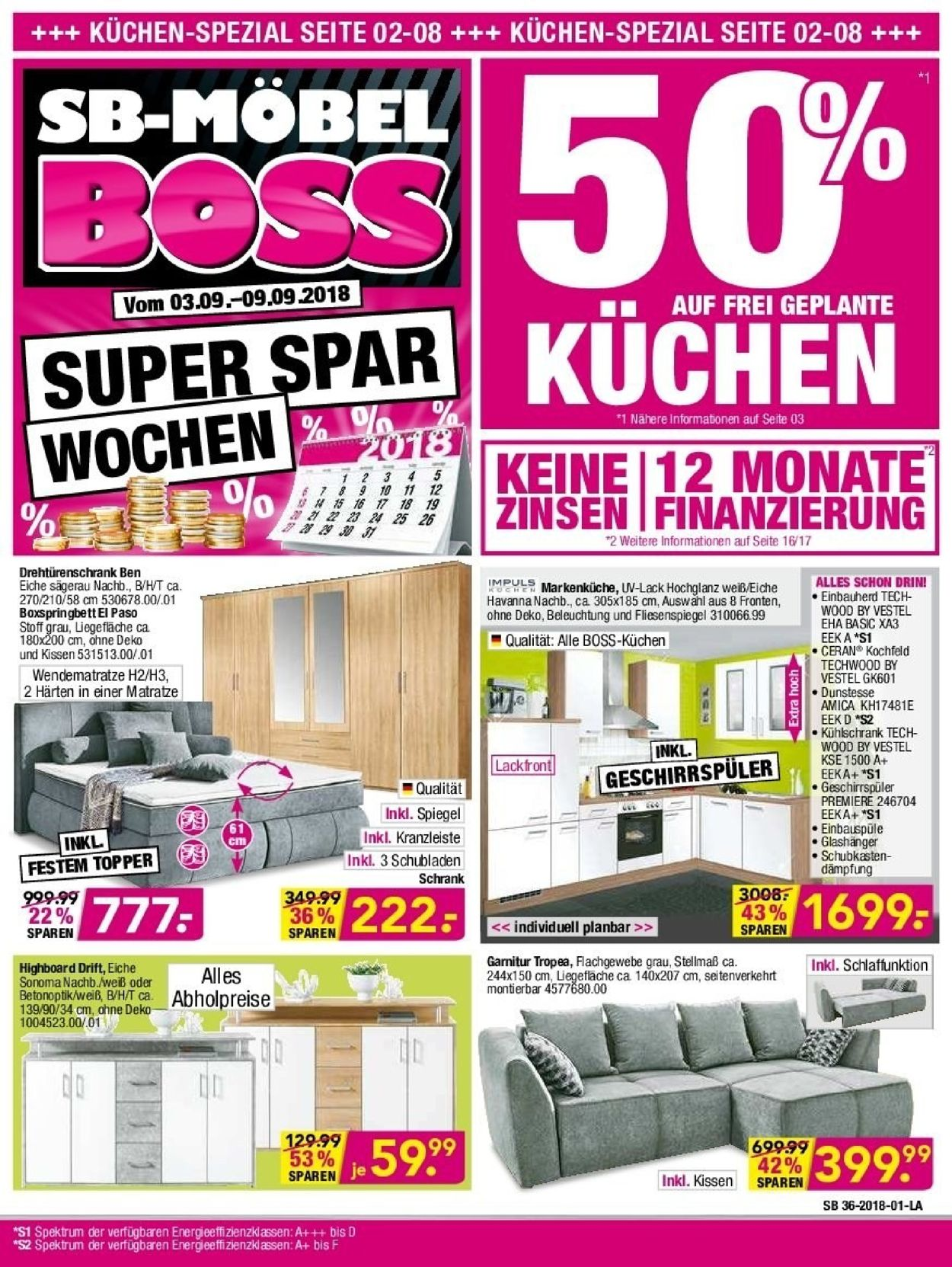 SB Möbel Boss Prospekt - Aktuell vom 03.09-09.09.2019