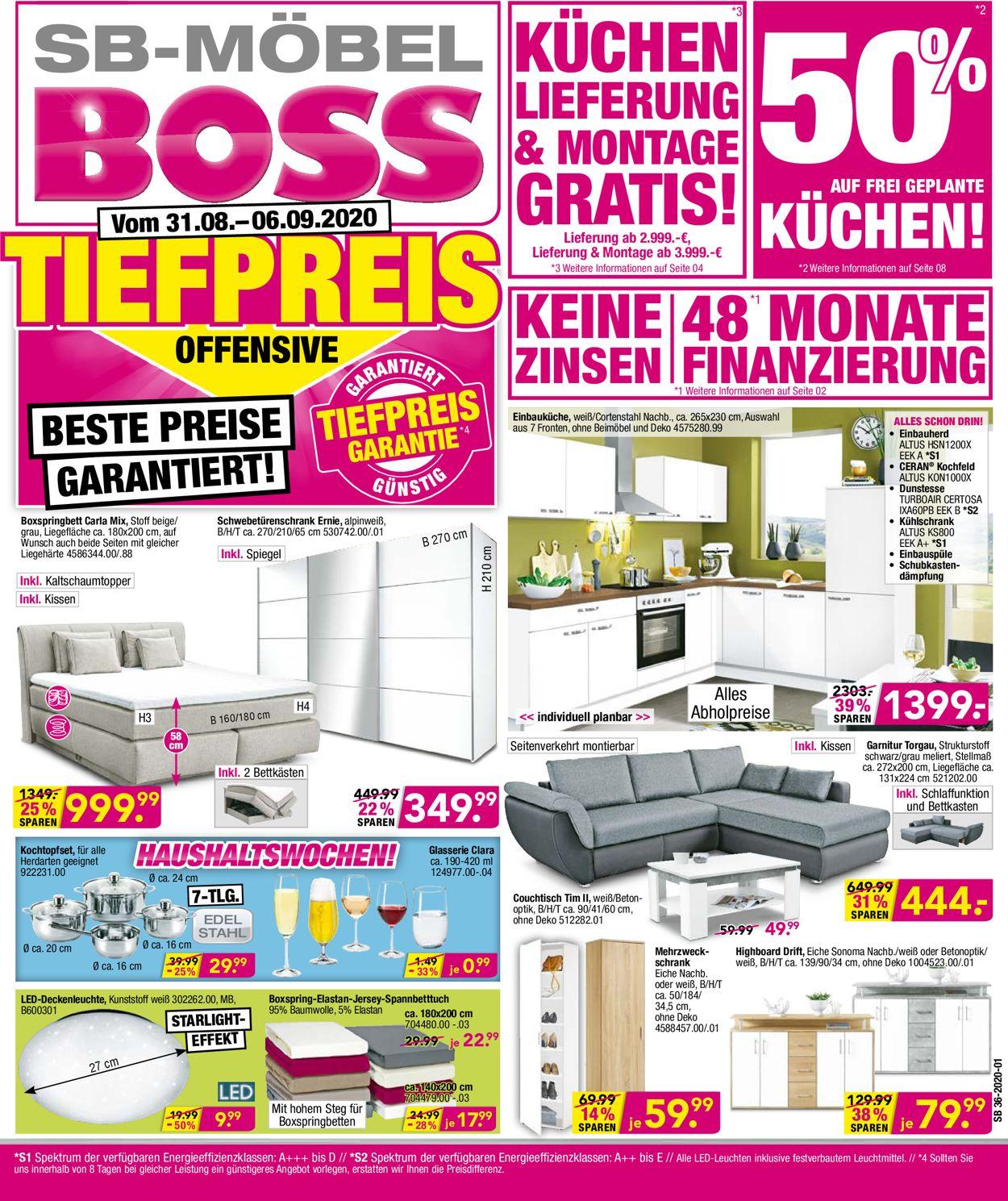 SB Möbel Boss Prospekt - Aktuell vom 31.08-06.09.2020