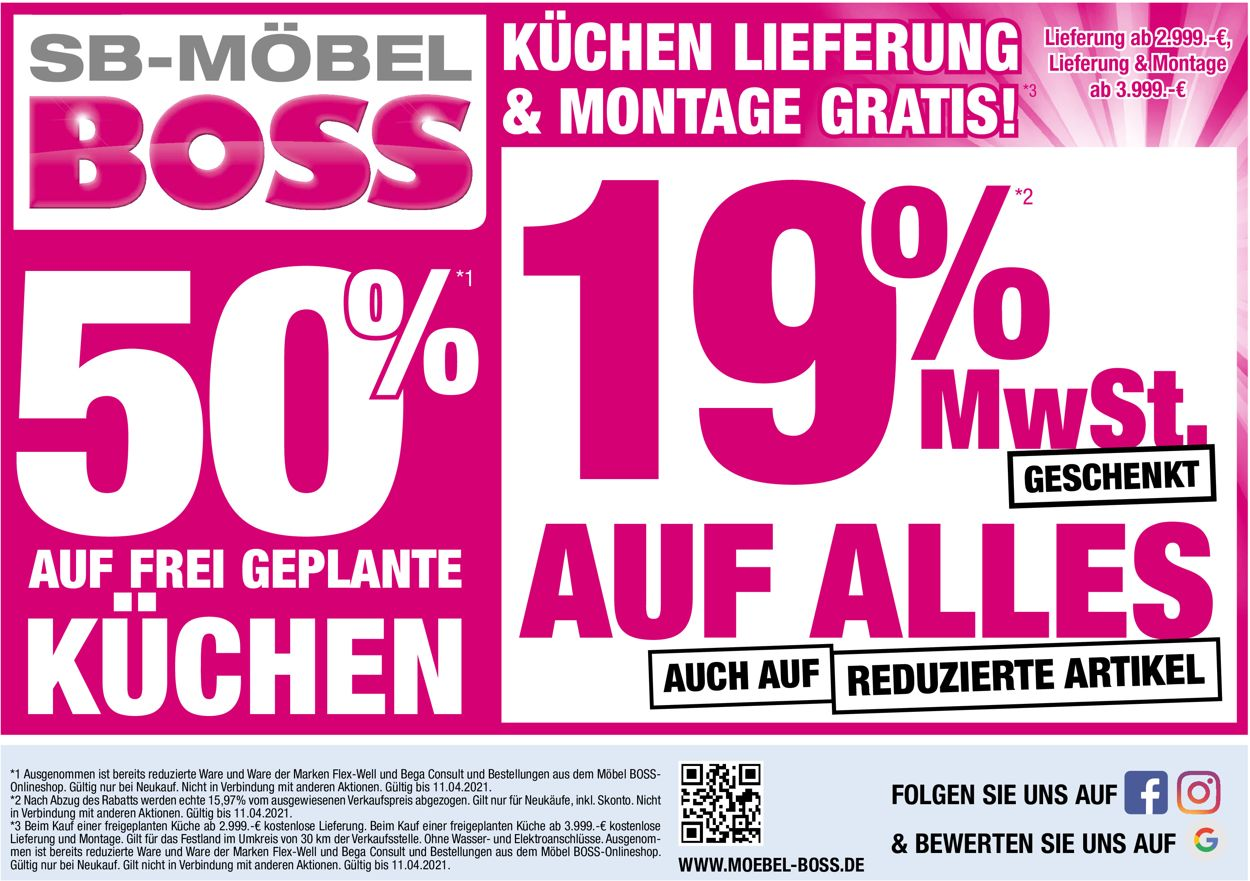 SB Möbel Boss Prospekt - Aktuell vom 06.04-11.04.2021