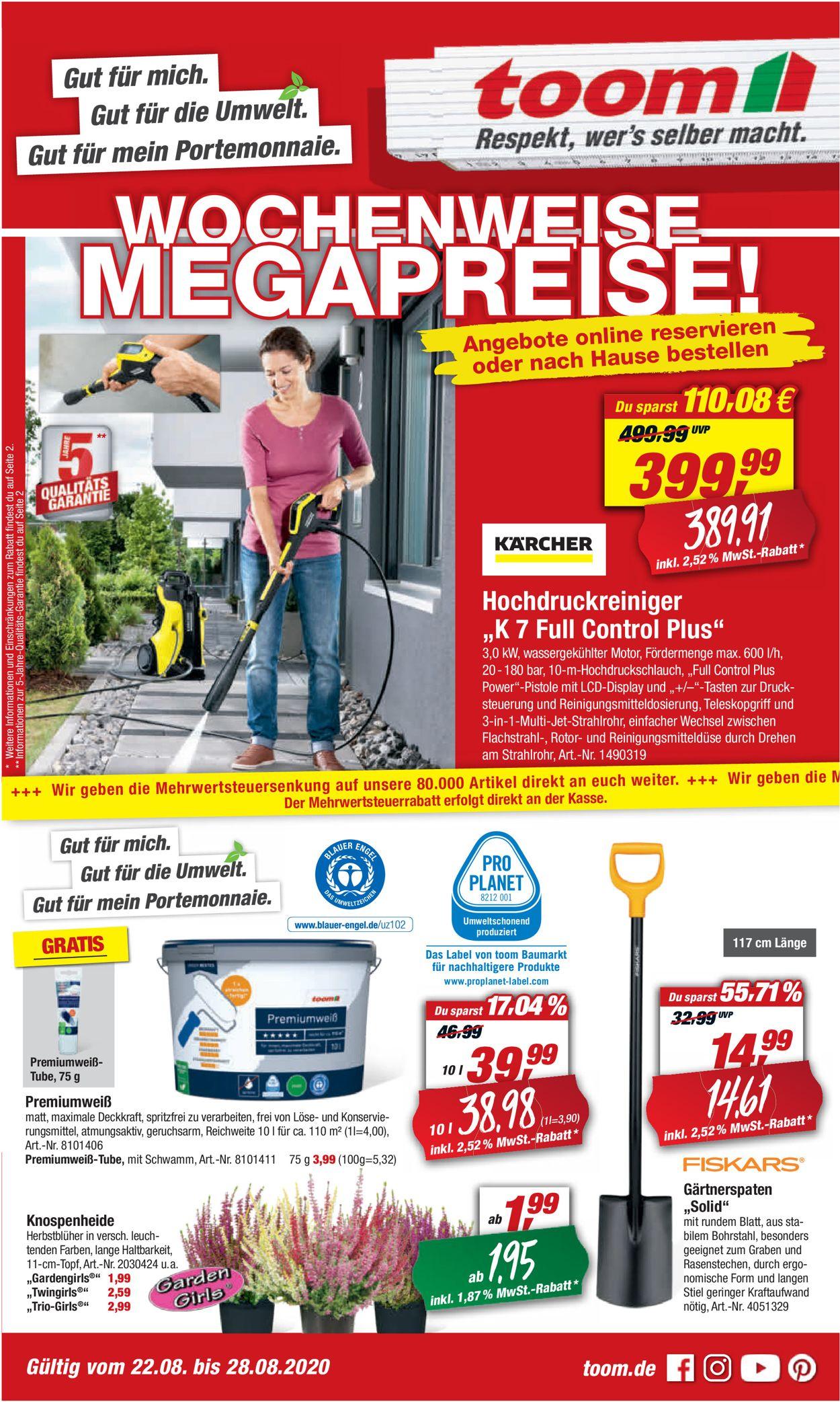 toom Baumarkt Prospekt - Aktuell vom 22.08-28.08.2020