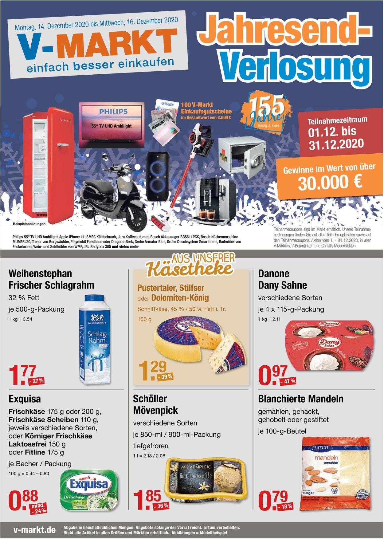 V-Markt Weihnachtsprospekt 2020 Prospekt - Aktuell vom 14.12-16.12.2020