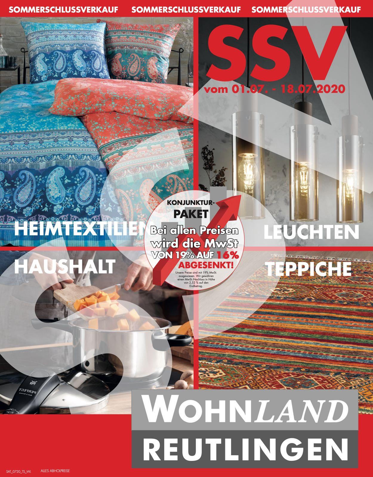 Wohnland Reutlingen Prospekt - Aktuell vom 01.07-18.07.2020