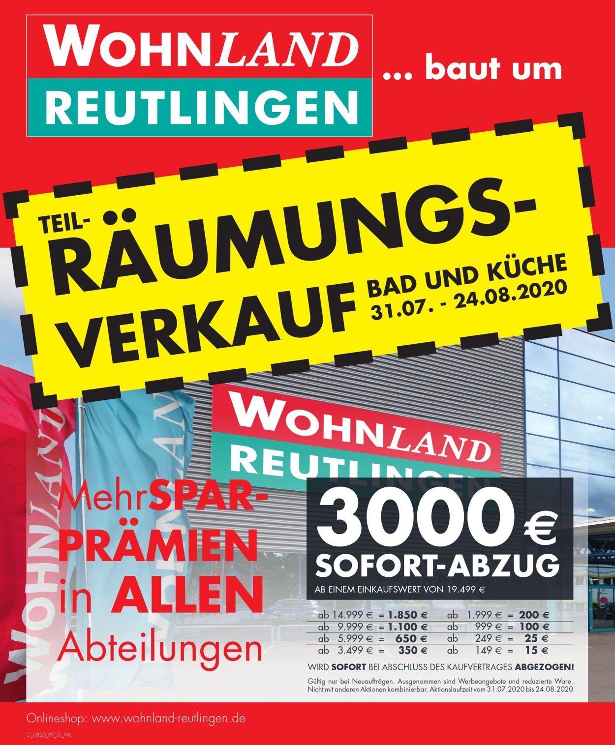 Wohnland Reutlingen Prospekt - Aktuell vom 31.07-24.08.2020