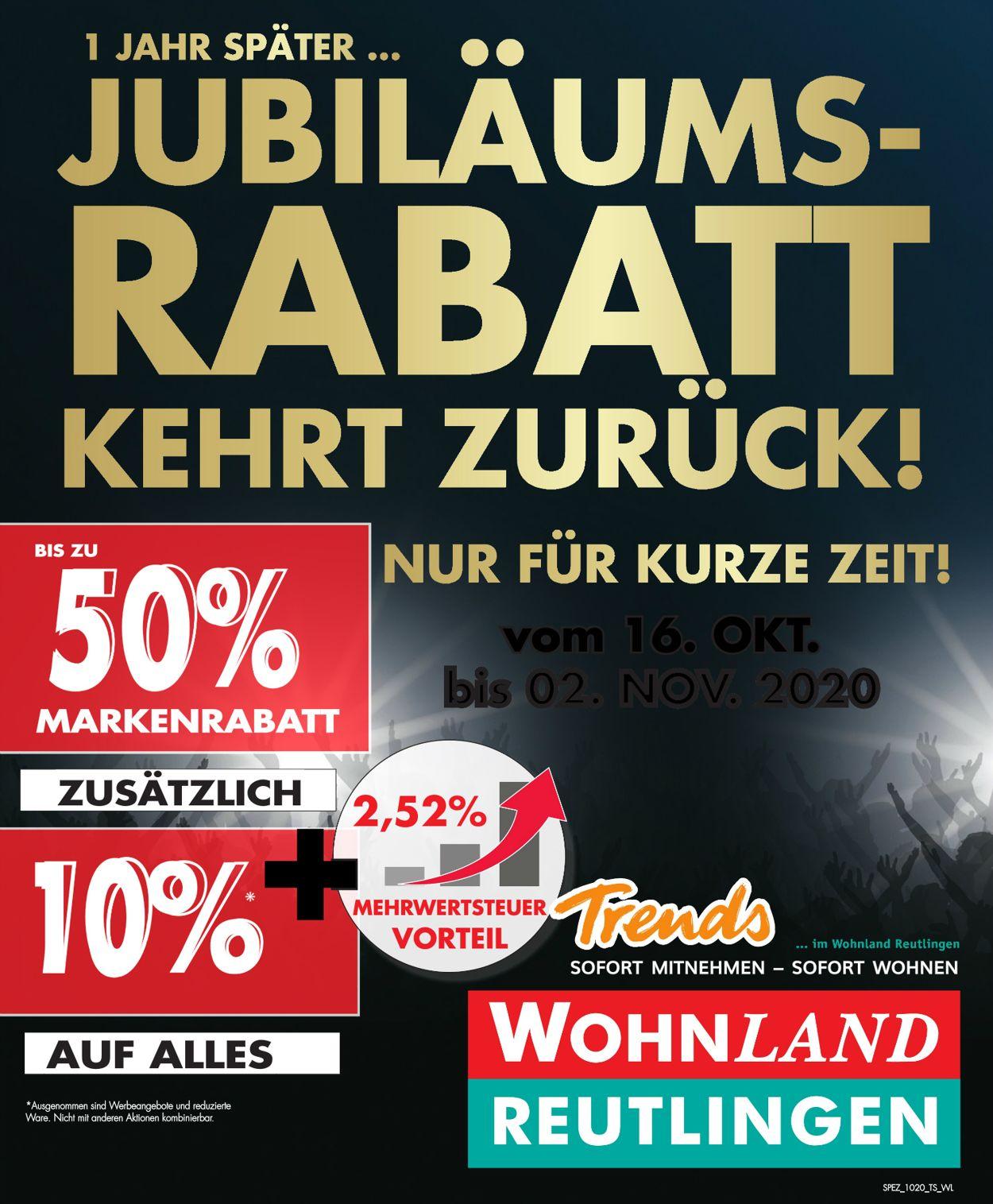 Wohnland Reutlingen Prospekt - Aktuell vom 16.10-02.11.2020