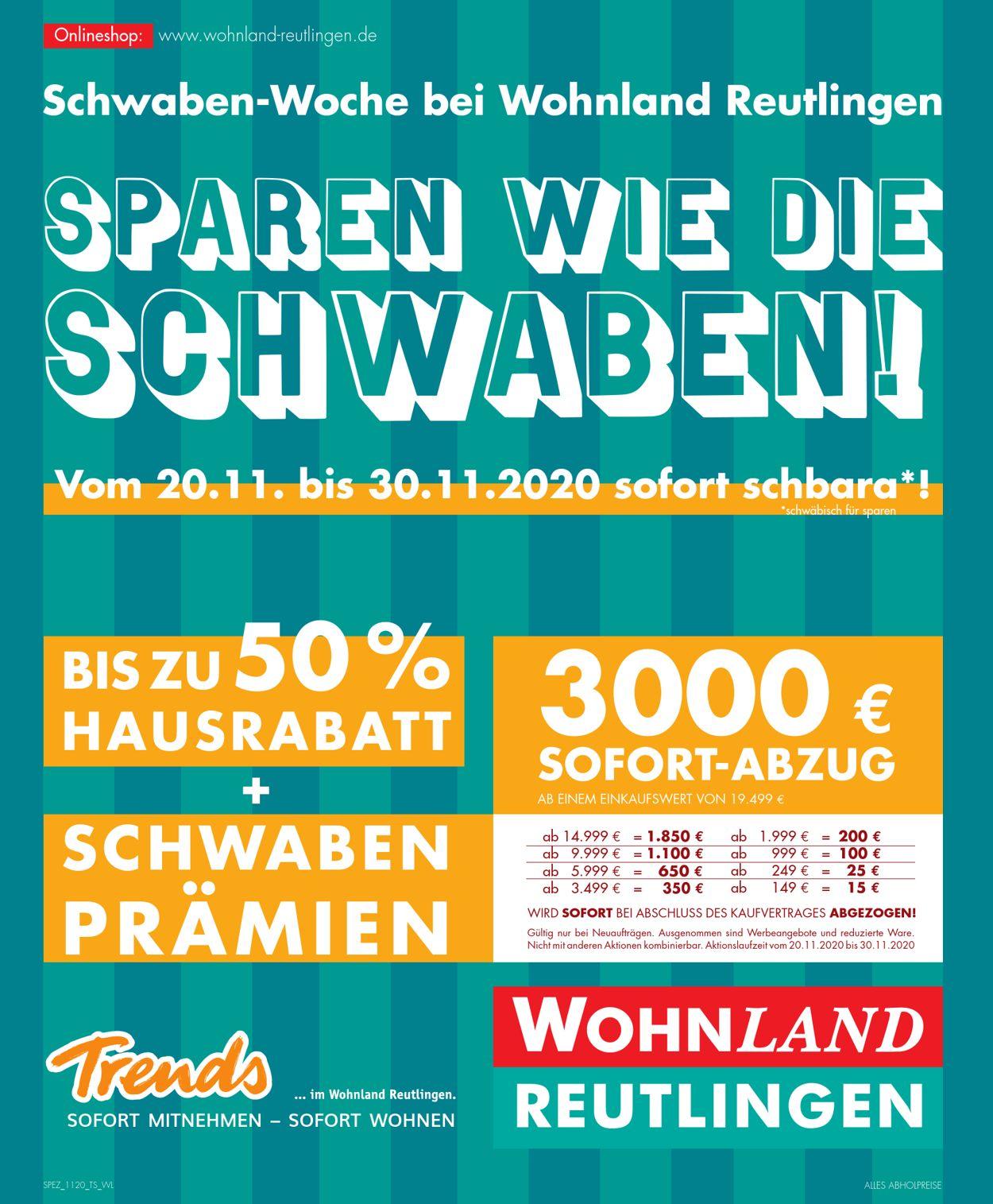 Wohnland Reutlingen Prospekt - Aktuell vom 20.11-30.11.2020