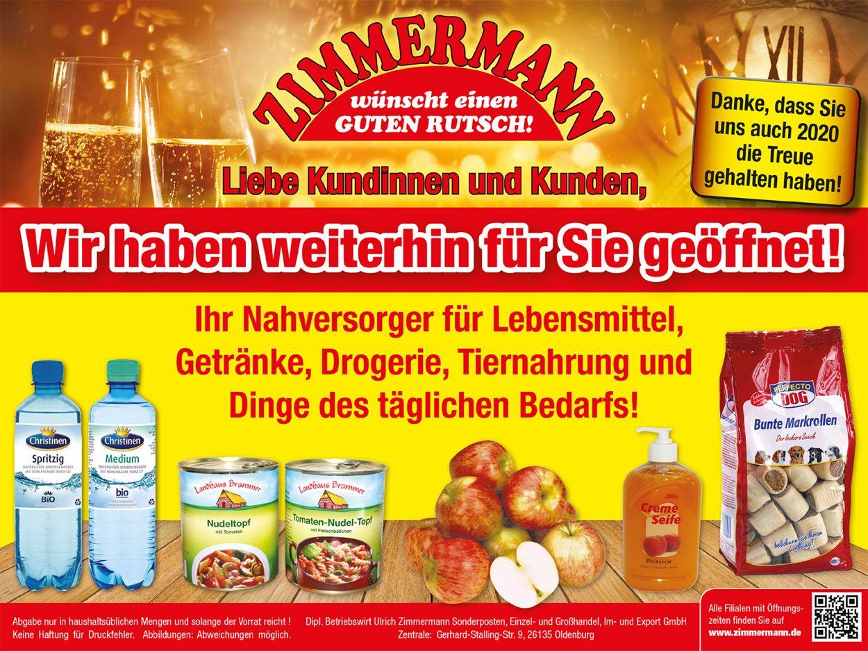 Zimmermann Prospekt - Aktuell vom 28.12-31.12.2020